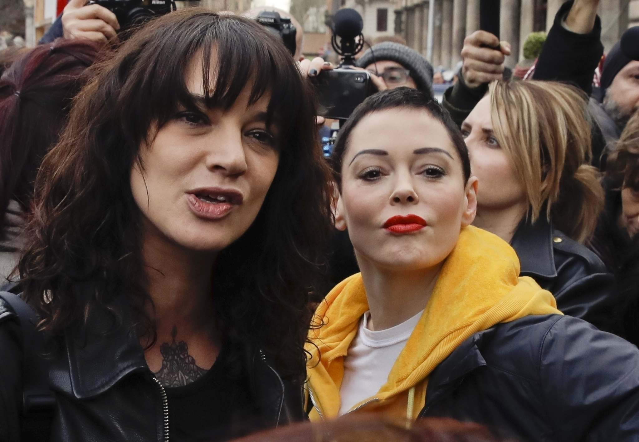 Alessandra Tarantino / The Associated Press</p><p>Asia Argento (left) asked friend Rose McGowan to pen a statement asking the public not to place blame following Anthony Bourdain&rsquo;s suicide.</p>