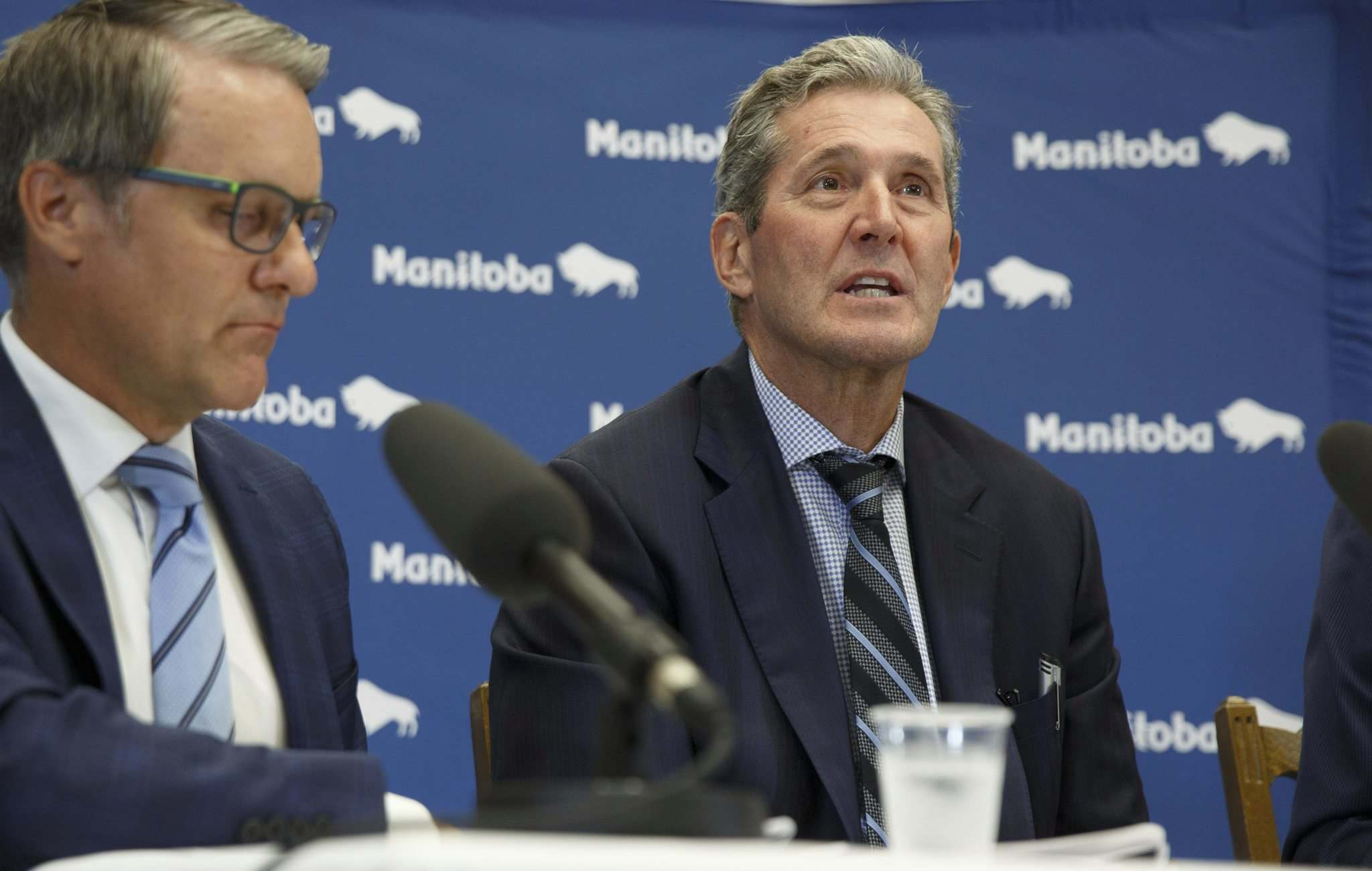MIKE DEAL / WINNIPEG FREE PRESS</p><p>Manitoba Premier Brian Pallister and the Minister of Finance Cameron Friesen at announcement of recipients for the Transformation Capital Fund.</p>