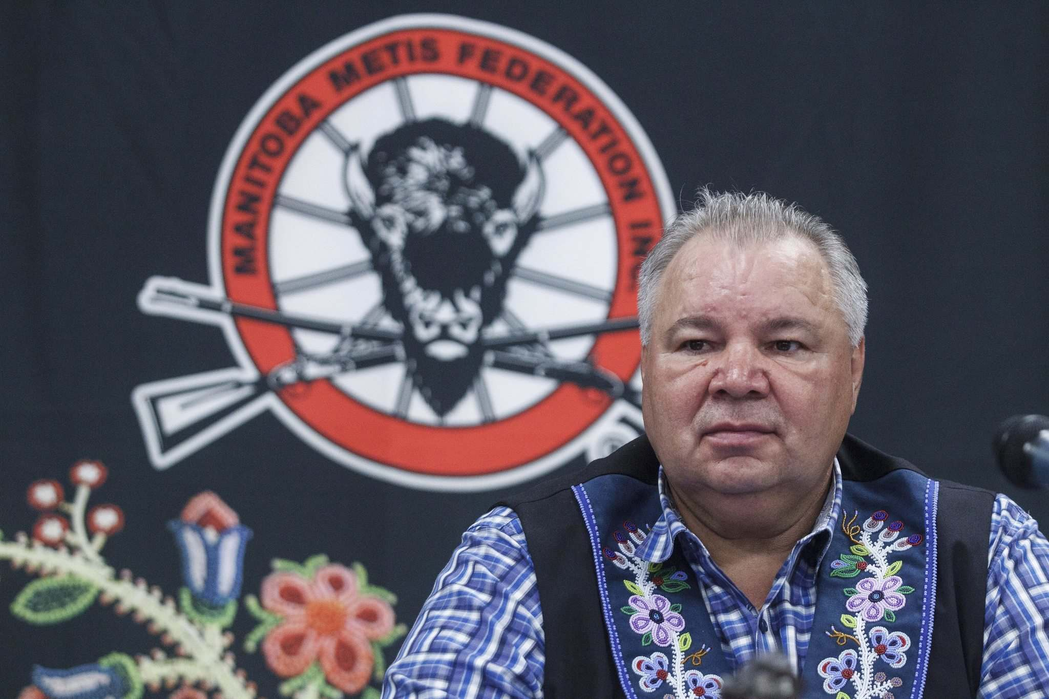 MIKE DEAL / WINNIPEG FREE PRESS</p><p>David Chartrand president of the Manitoba Metis Federation during the announcement that the MMF has sued the provincial government over orders Premier Brian Pallister gave Manitoba Hydro to kill a land-entitlement deal.</p>