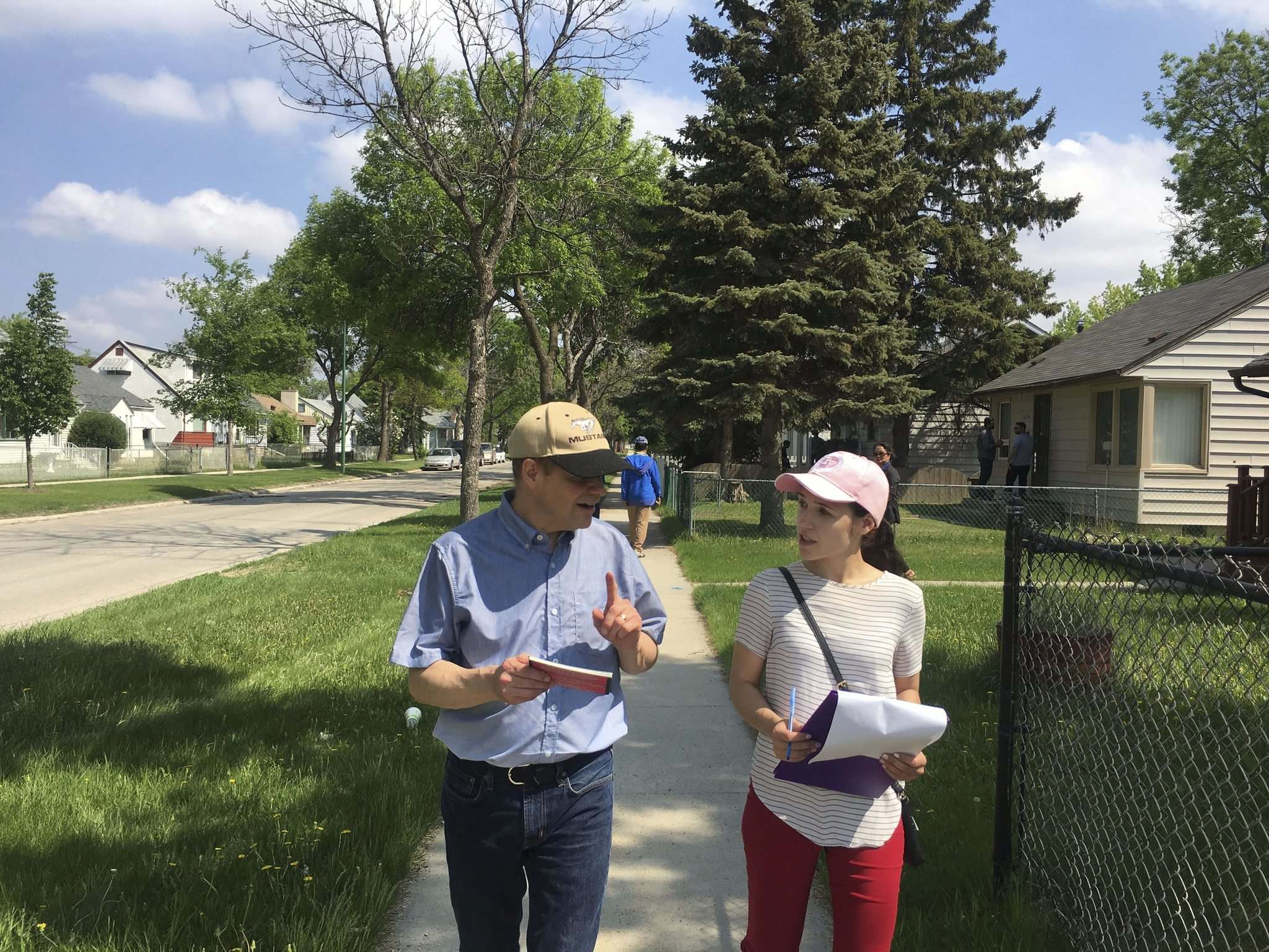 Cindy Lamoureux, Liberal MLA for Burrows, campaigning with her father, Kevin. (Supplied photo)
