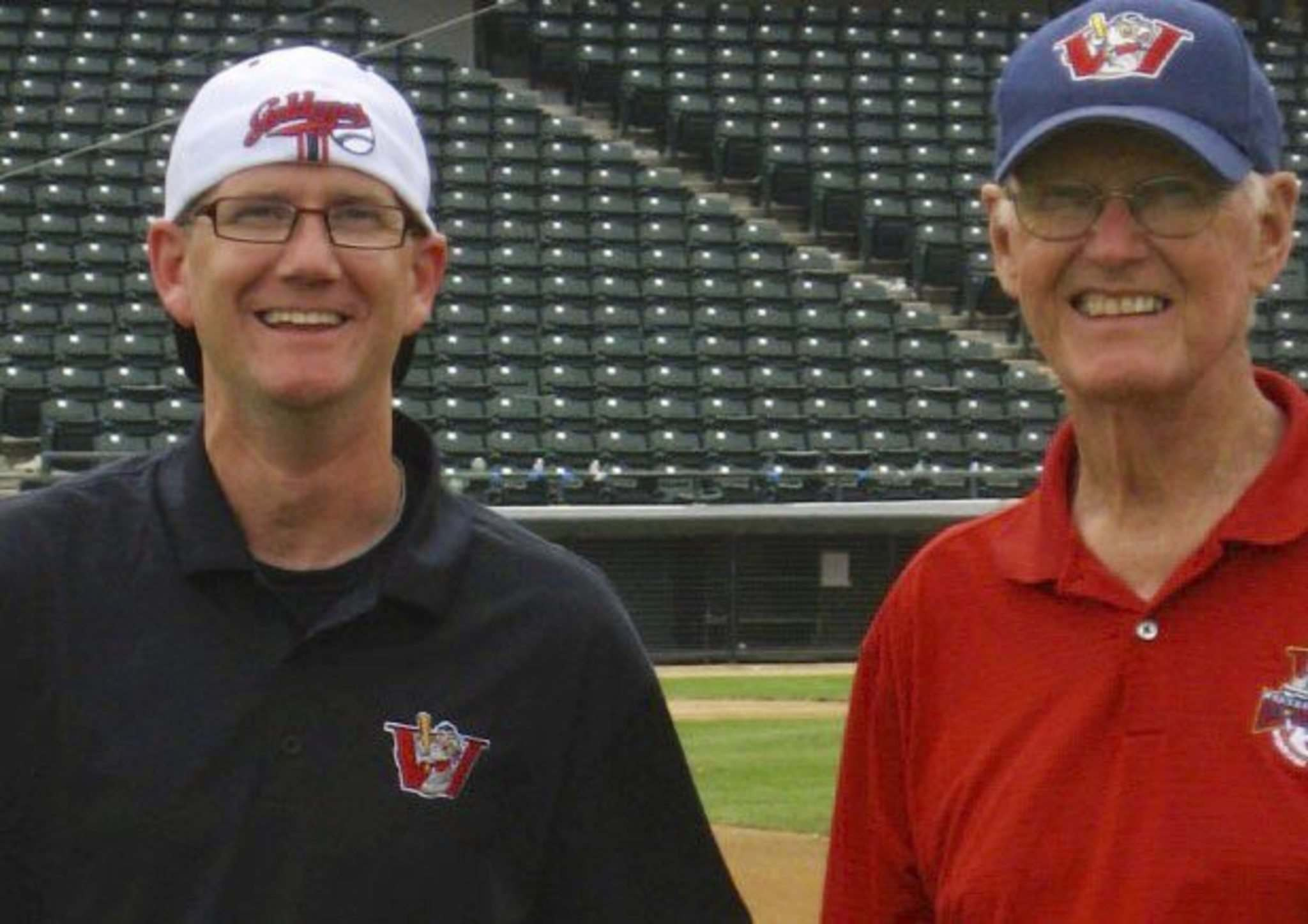 Andrew Collier, general manager of the Winnipeg Goldeyes, with his father, Kenn. (Supplied photo)