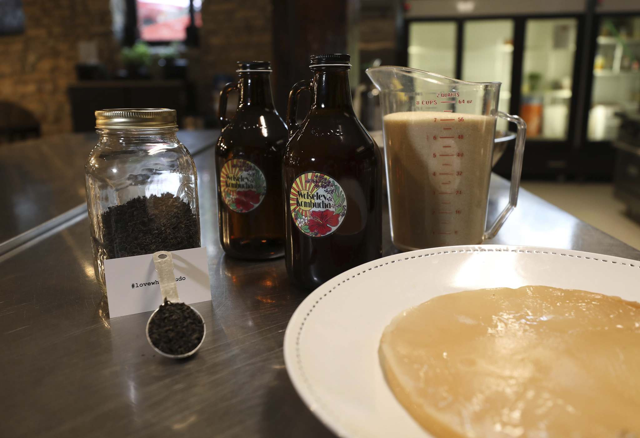 Some of the ingredients that go into making kombucha are: tea, SCOBY (gooey, cream coloured blob for the fermentation) and cane sugar, just to name a few.</p></p>