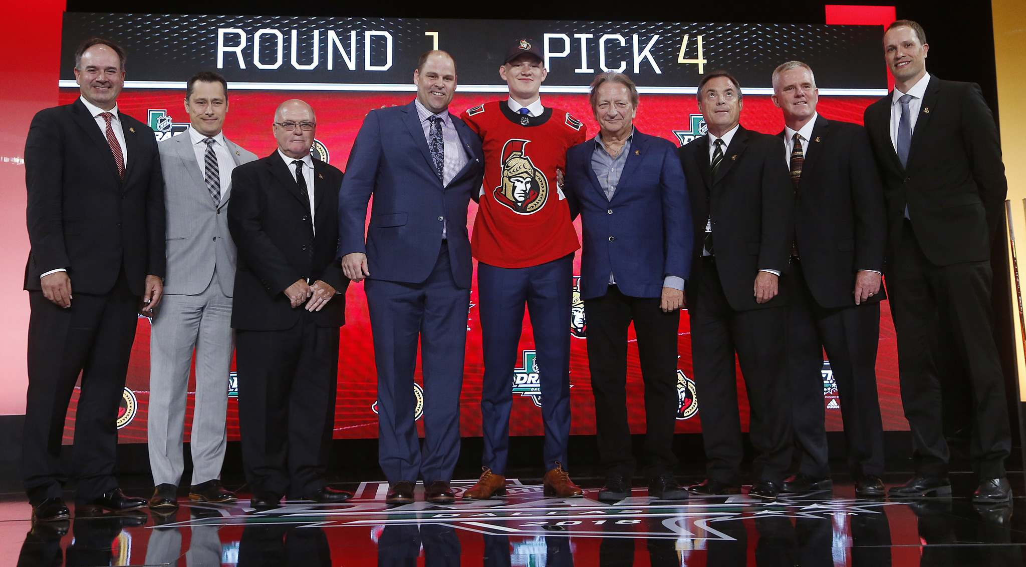 Michael Ainsworth / The Associated Press</p><p>Brady Tkachuk (centre) was selected fourth overall by the Ottawa Senators at the NHL draft in Dallas on Friday. Brady follows his brother, Matthew, who was drafted sixth overall by the Calgary Flames in 2016.</p></p>