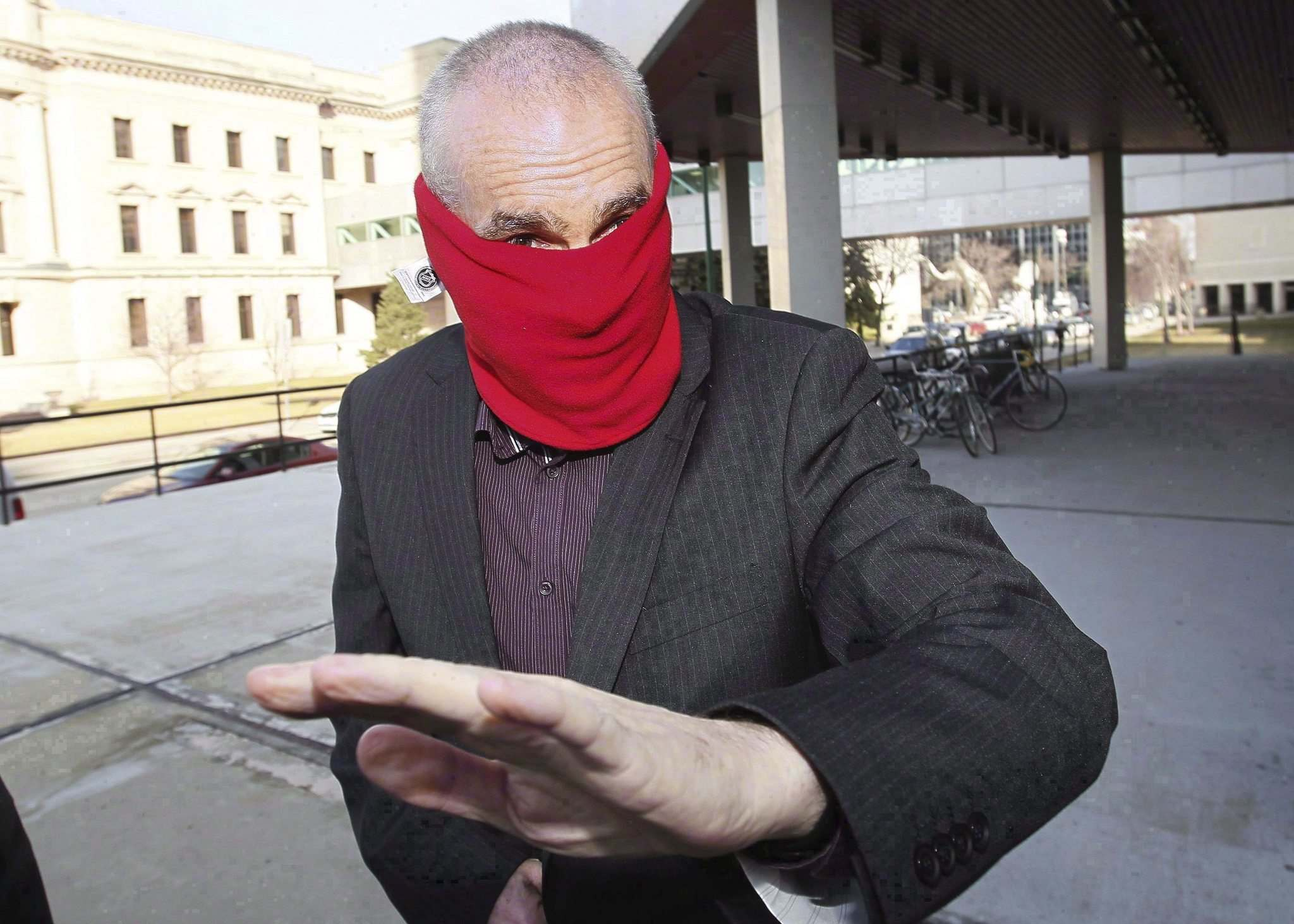 Graham James arrives at court for sentencing in Winnipeg on March 20, 2012. (John Woods / The Canadian Press files)</p>
