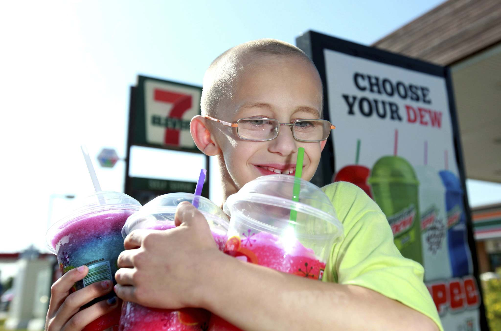 Winnipeggers, such as Aidan Pratt, have helped the city earn the title of Slurpee Capital of the World. Now the city is naming a street after the iconic sugary drink. (Ruth Bonneville/Winnipeg Free Press Files)</p>