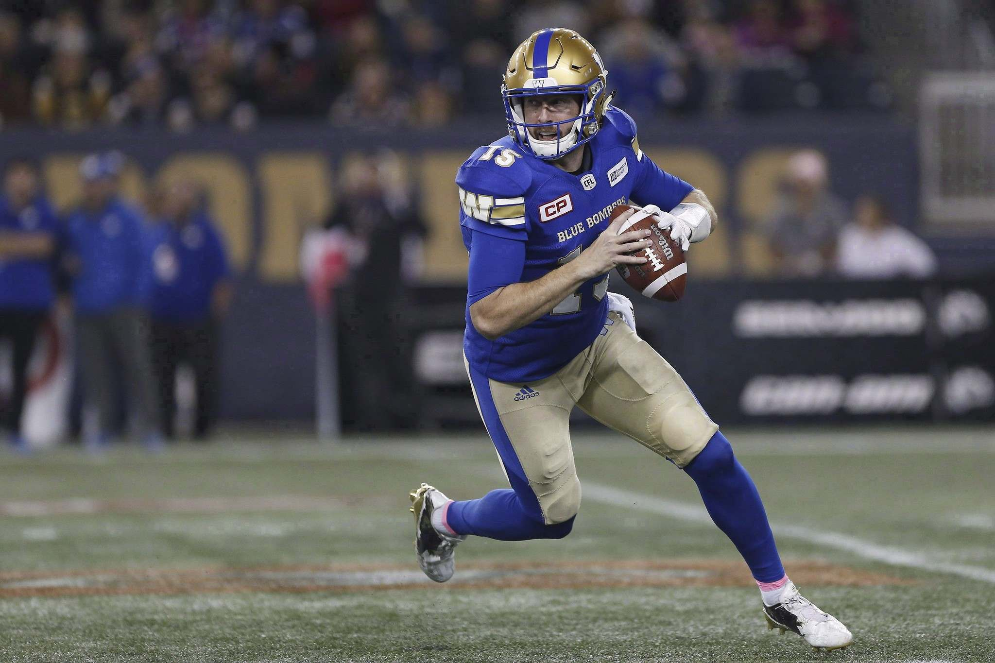 Bomber fans missed our usually reliable, sophisticated, and efficient M-Series, WB Matt Nichols. (John Woods / Canadian Press files)</p>