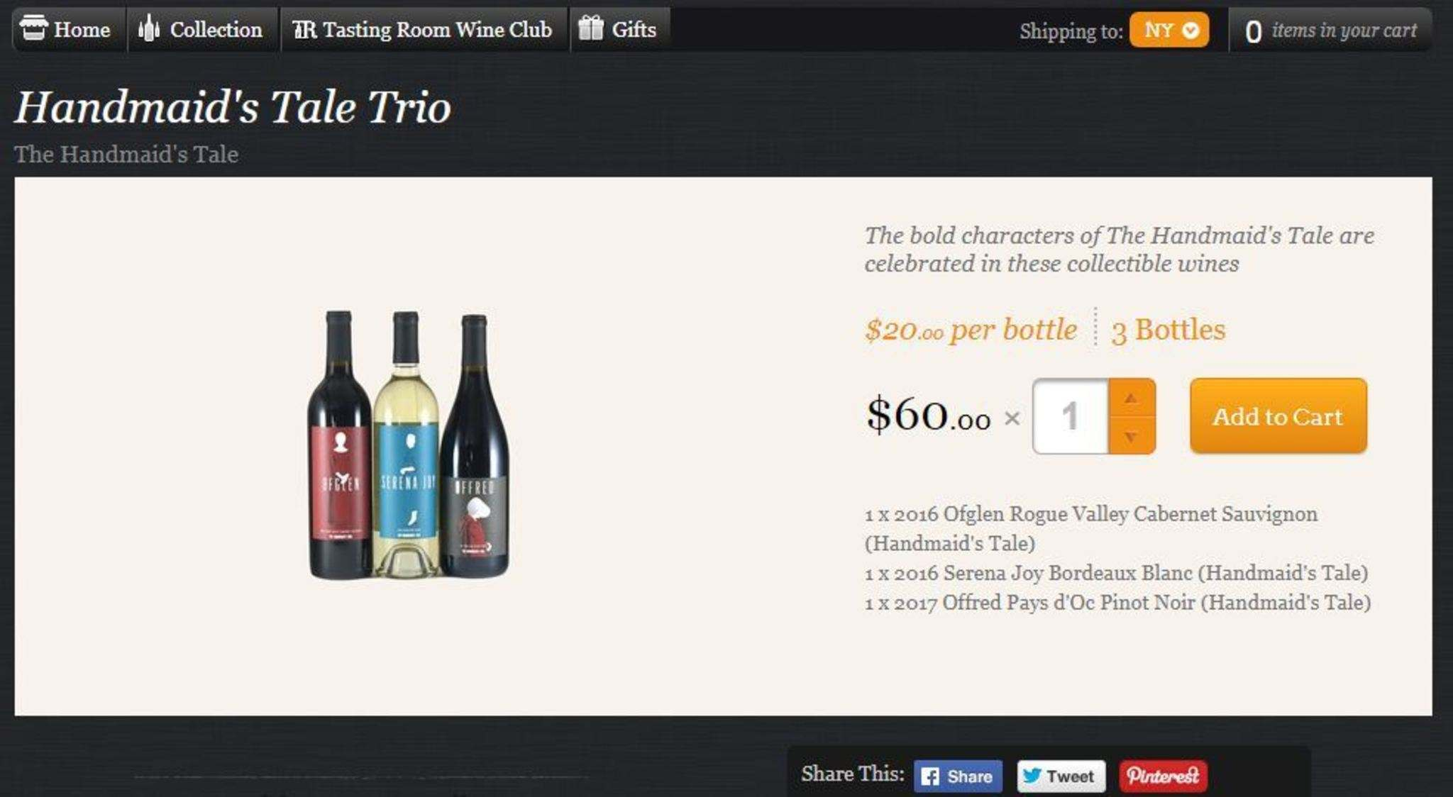 The trio of wines were being offered at www.lot18.com before a backlash had the line removed. </p>