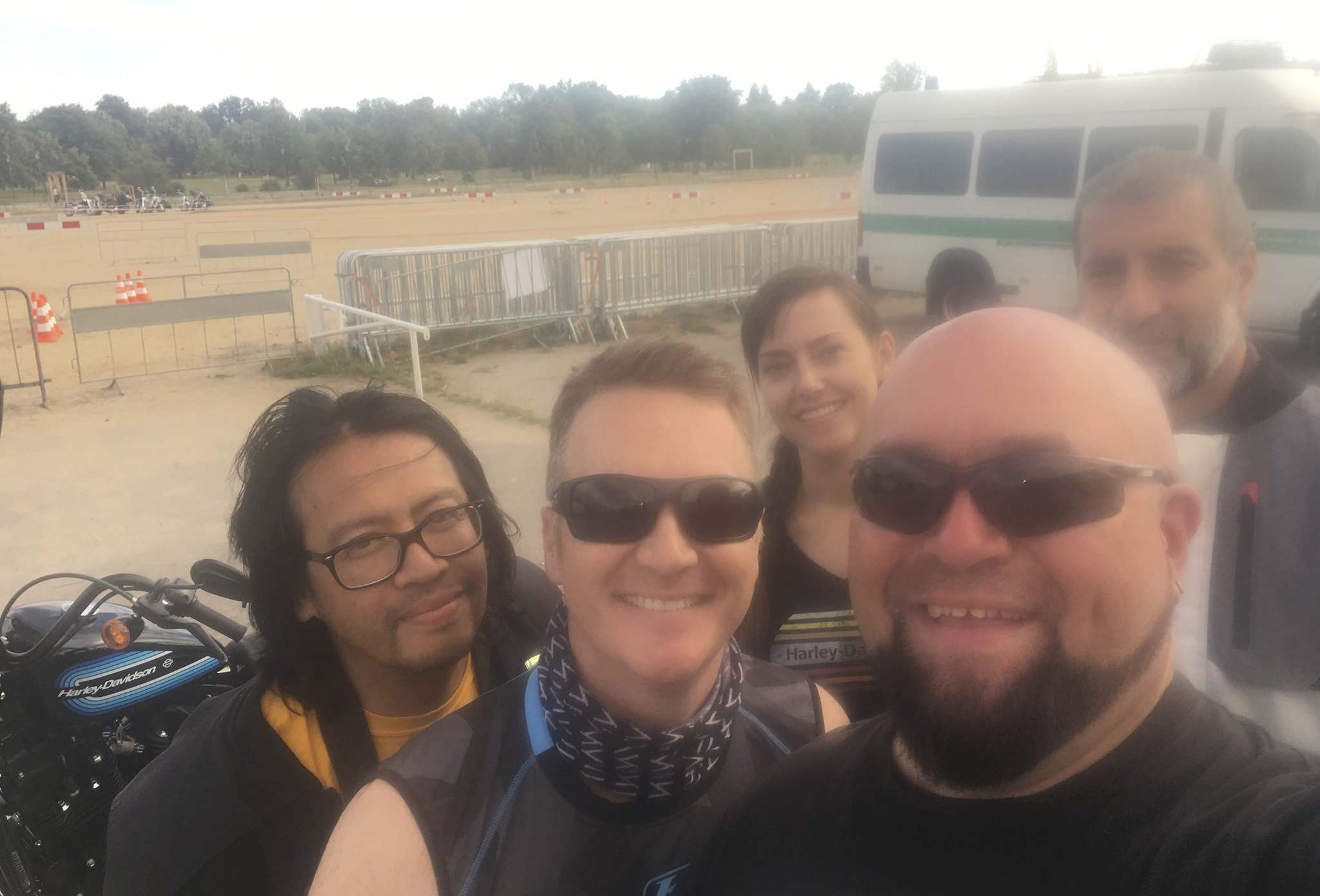 Willy Williamson / Winnipeg Free PressNo, he wasn't trying to get artistic with us, apparently Willy had sunscreen on his iPhone when he shot this selfie with, from left, Mondo Lulu, Eric Menard, Karen Mayberry and Costa Mouzouris, after an adventure-filled ride in the Czech Republic.
