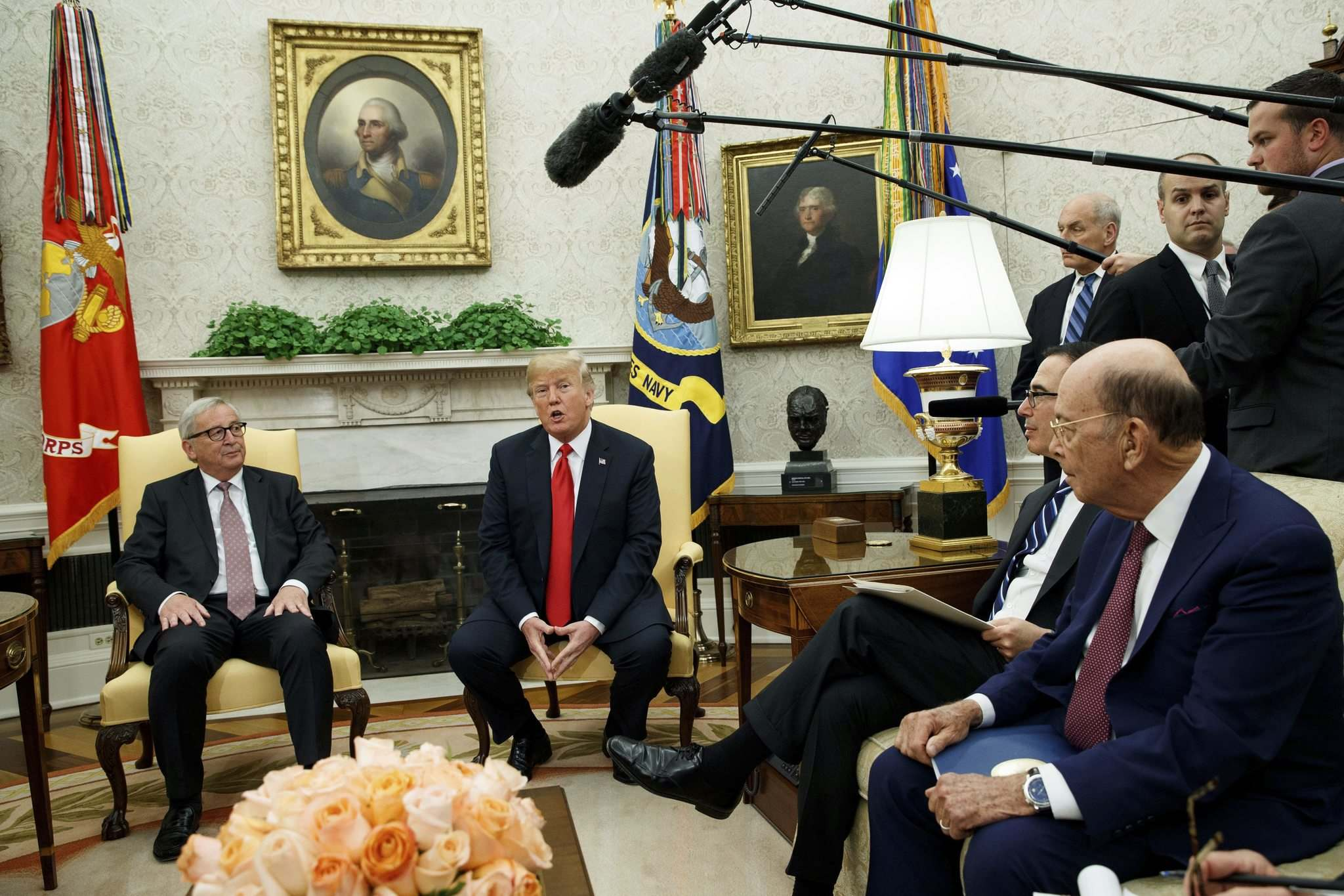 Evan Vucci / The Associated Press</p><p>U.S. President Donald Trump meets with European Commission president Jean-Claude Juncker in the Oval Office on July 25.</p>