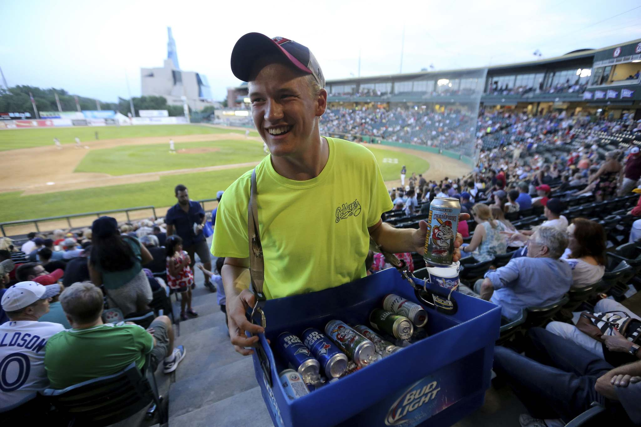 Jakob Sanderson, 21, selling beer during the Goldeyes game.