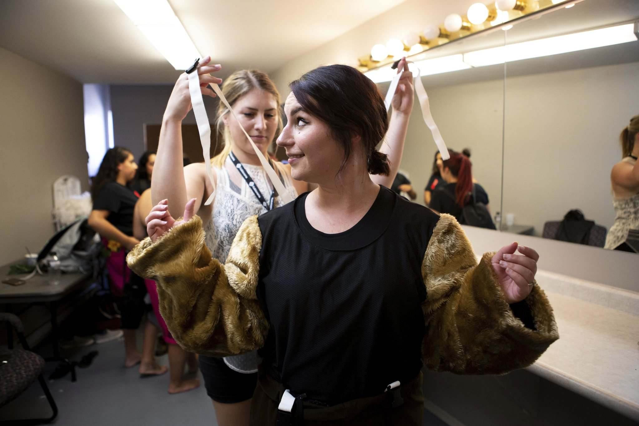 ANDREW RYAN / WINNIPEG FREE PRESS</p><p>Reporter Jen Zoratti gets ready to be the Folklorama Llama in the dressing room of the Lyric Theatre.</p>