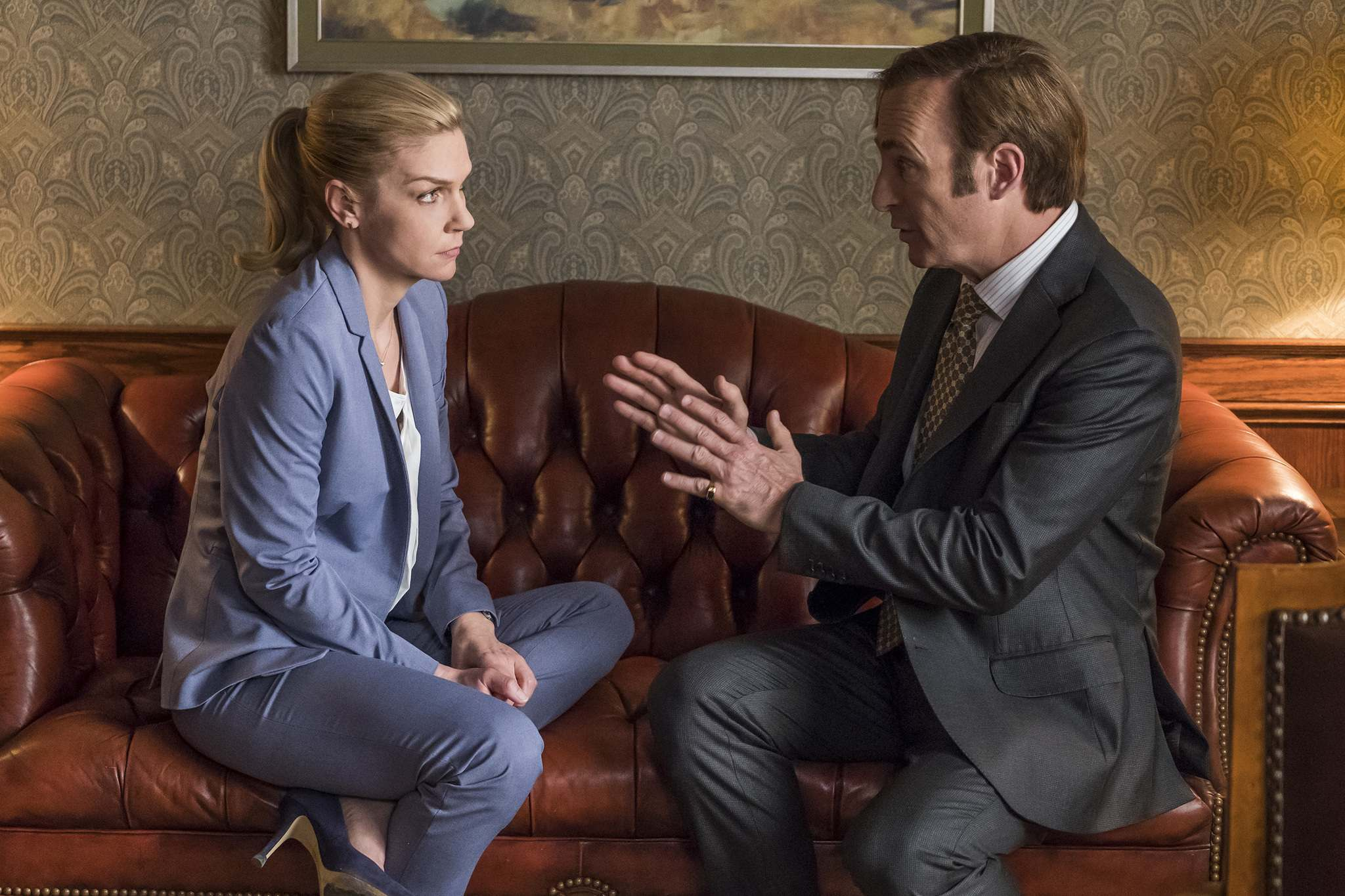 Sony Pictures Television</p><p>The central premise of Better Call Saul is the transformation of Jimmy McGill (Bob Odenkirk), seen with fellow lawyer Kim Wexler (Rhea Seehorn), into Breaking Bad&rsquo;s Saul Goodman.</p></p>