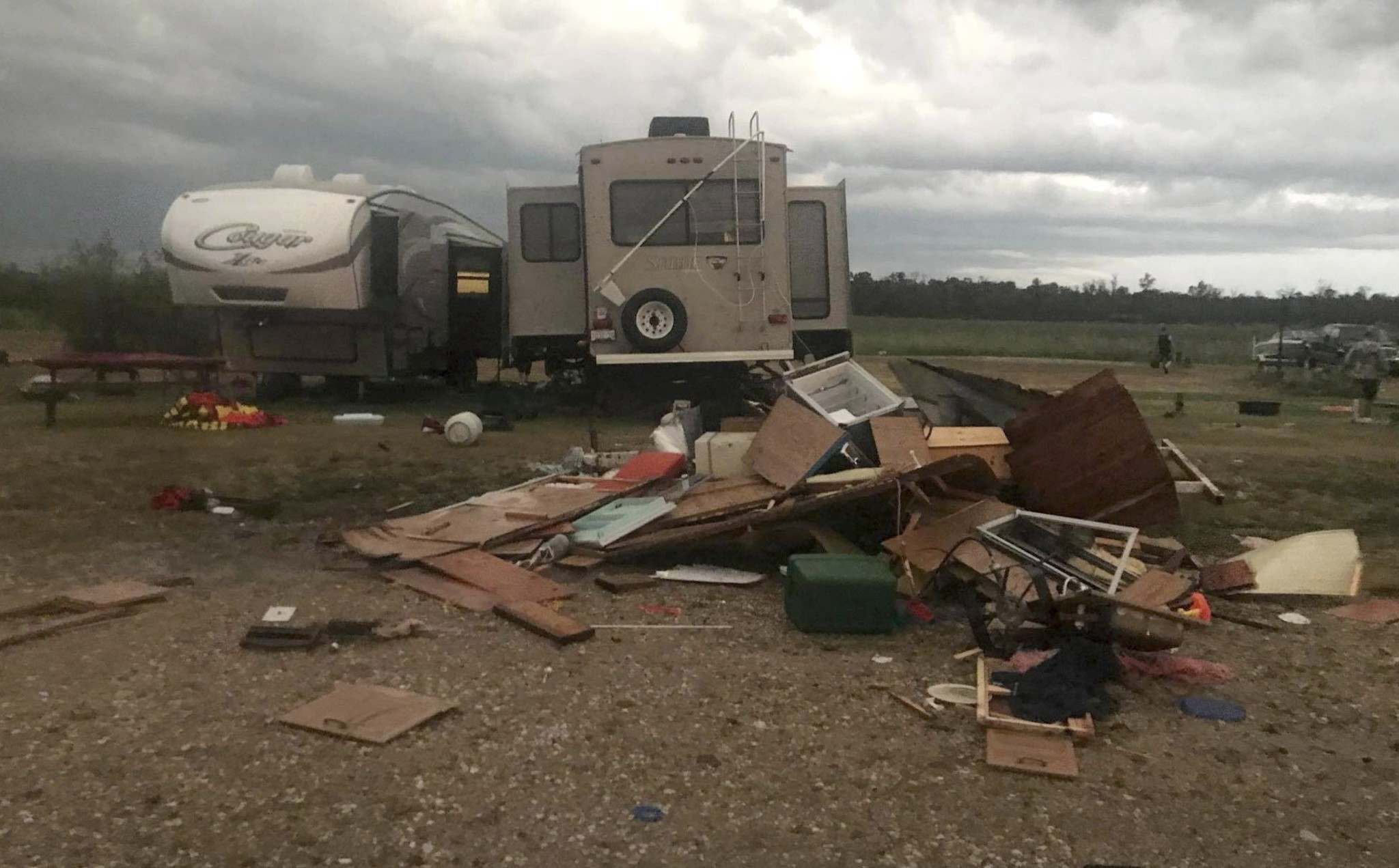 Many people left their campers behind after Friday&#39;s tornado and councillors in the area are concerned thieves might nab valuables from the site. (Vanessa Whyte / Facebook)</p>