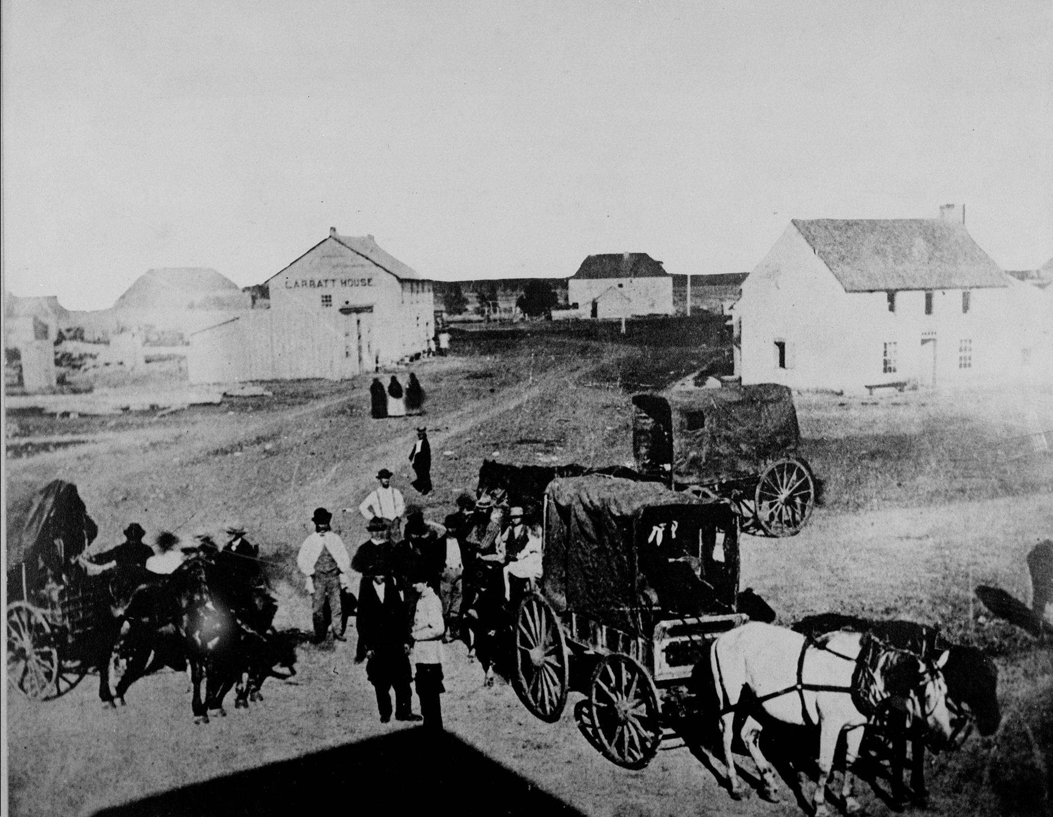 The intersection as it looked in 1872, just two years after Manitoba joined Confederation to become Canada&#39;s fifth province. (National Archives of Canada)</p>