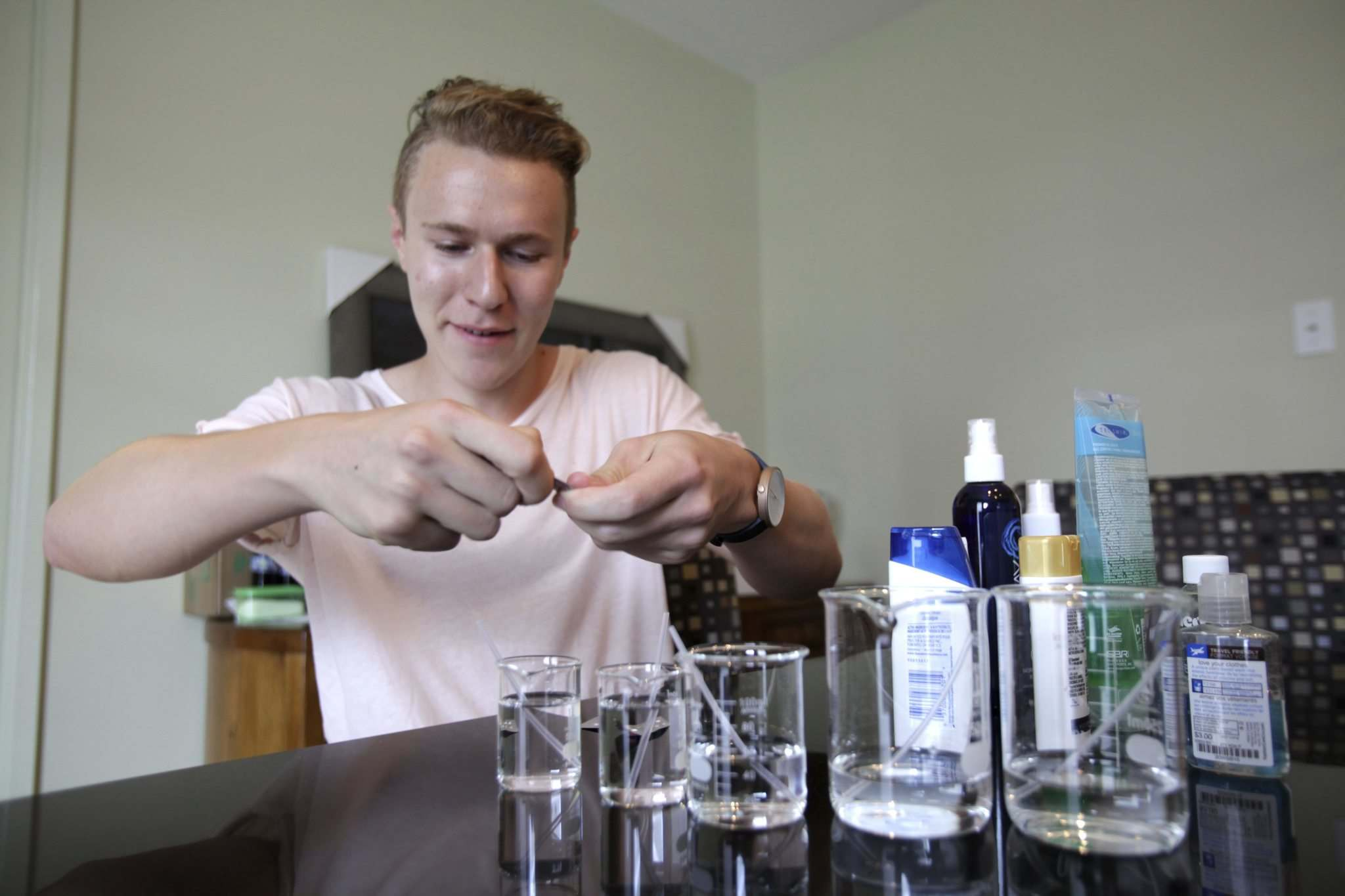 Elliot Kimelman developed C-Spray when he was a swim instructor — now he's selling it in stores in Winnipeg and Toronto. (Erik Pindera / Winnipeg Free Press)
