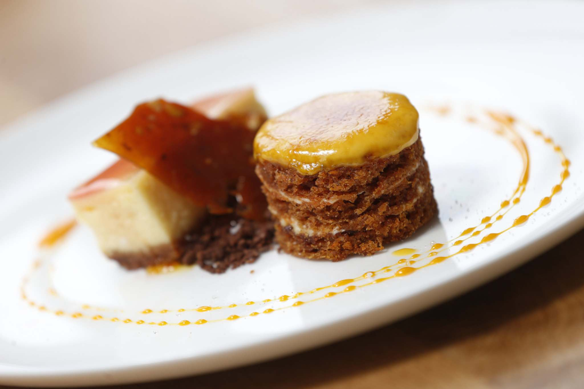 JOHN WOODS / WINNIPEG FREE PRESS</p><p>Carrot Genoise with praline, cheesecake, chocolate soil at The Oxbow.</p>