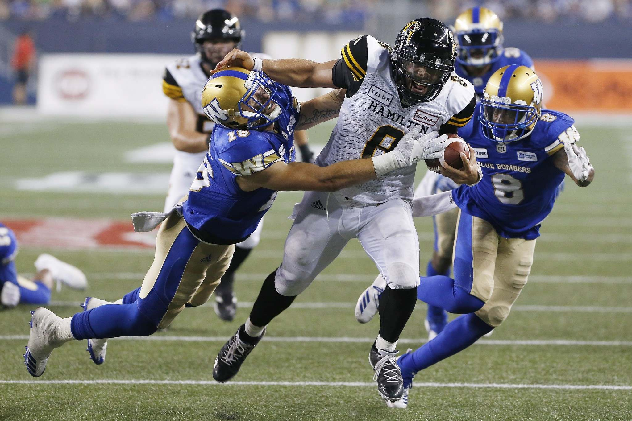 Winnipeg Blue Bombers' Taylor Loffler (16) and Chris Randle (8) chase down Hamilton Tiger-Cats' quarterback Jeremiah Masoli (8) as he drives for the touchdown line during the second half of CFL action in Winnipeg on Friday. (John Woods / The Canadian Press)</p>