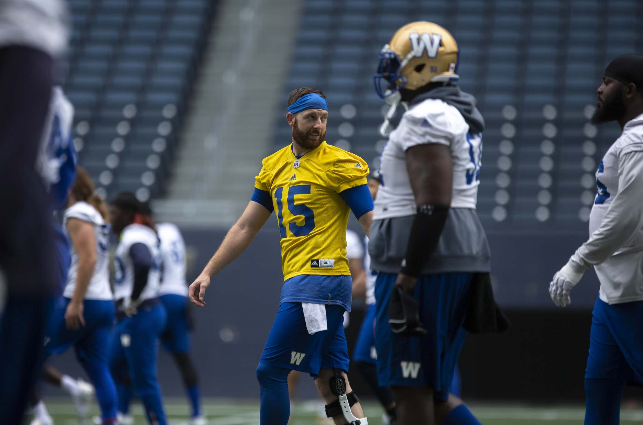 ANDREW RYAN / WINNIPEG FREE PRESS</p><p>Bombers quarterback Matt Nichols (15) in practice action at Investors Group Field on August 13, 2018.</p>