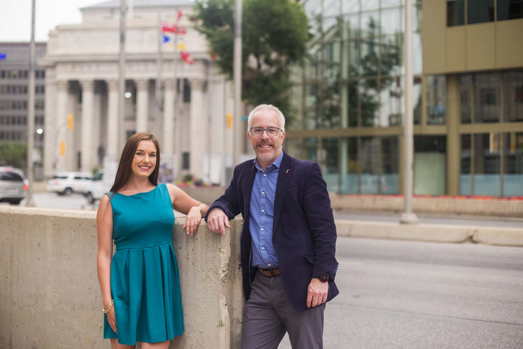 Coalition for Portage &amp; Main members Alyson Shane (left) and Adam Dooley announced the launch of a GoFundMe campaign aimed at raising money for advertising, signs and rallies before the Oct. 24 municipal election that will include a question about reopening the intersection. (Mikaela MacKenzie / Winnipeg Free Press)</p></p>