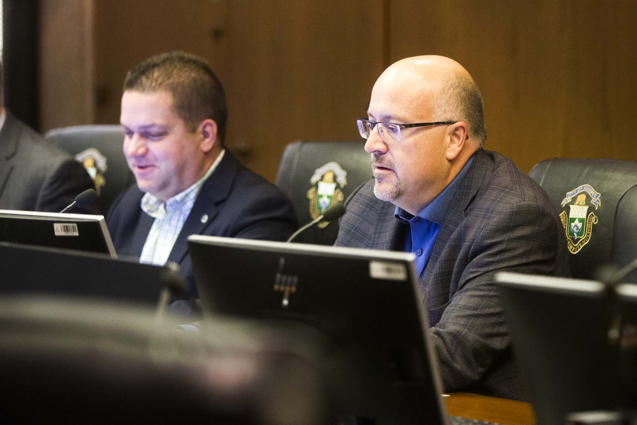 Coun. Russ Wyatt joined councillors Jeff Browaty and Jason Schreyer for a special meeting of the East Kildonan-Transcona community committee today at city hall. (Mikaela MacKenzie / Winnipeg Free Press)</p>