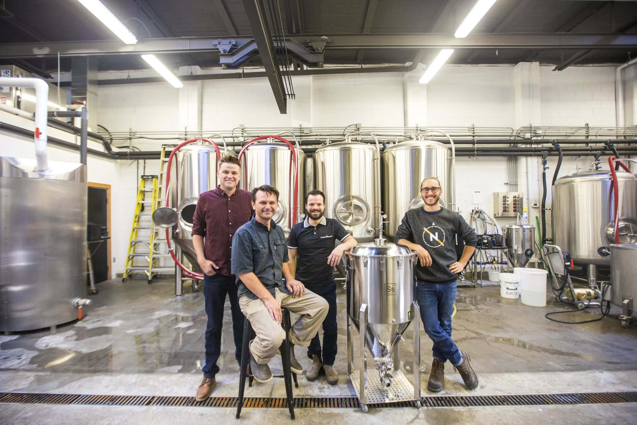Ben Myers (left), Mark Borowski, Matthew Sabourin, and Dylan Picton at the Nonsuch Brewing Co. PHOTOS BY MIKAELA MACKENZIE / WINNIPEG FREE PRESS