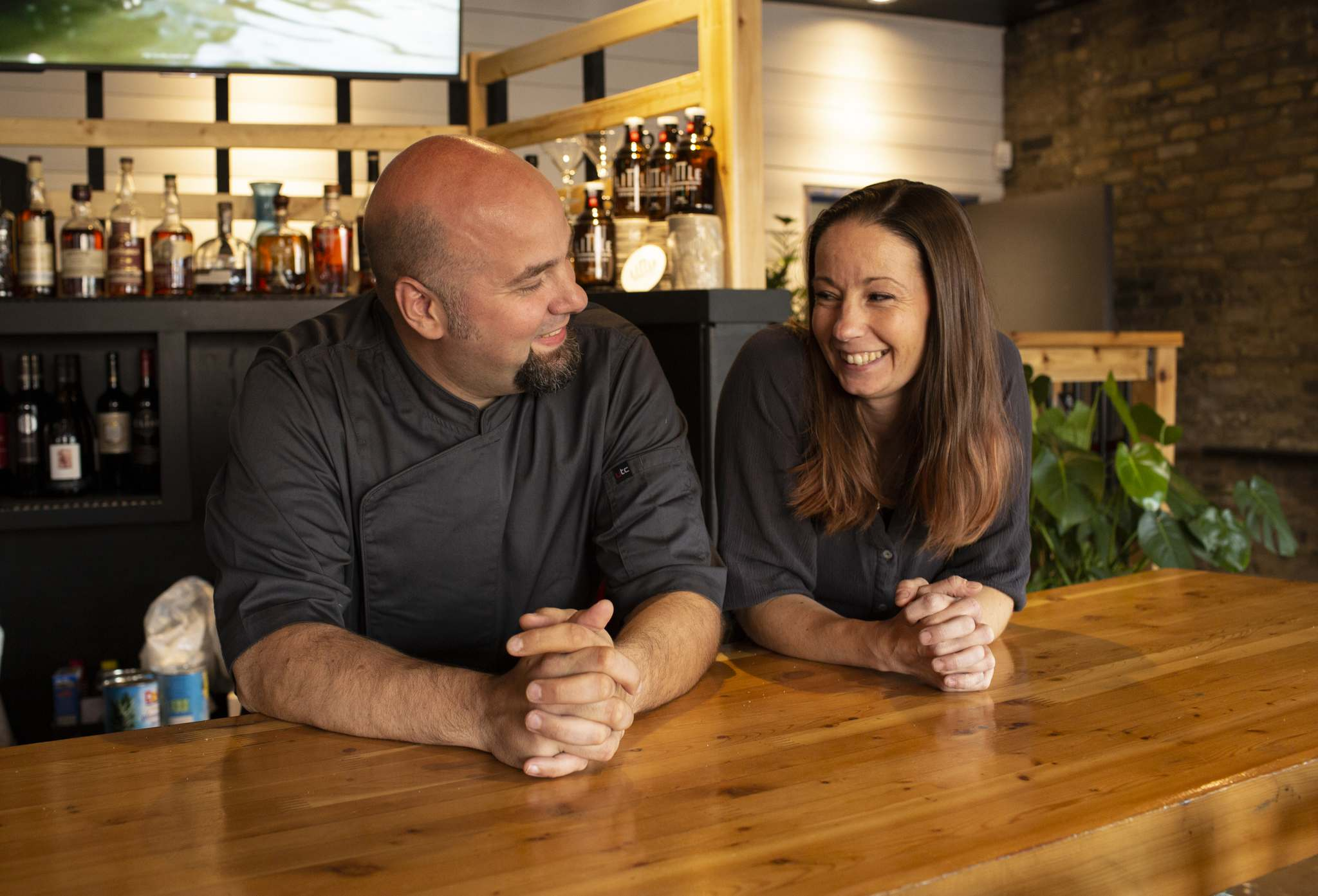 Co-owners and spouses Peter Vlahos, the head chef, and Samantha Vlahos of Pete's Place in Osborne Village. (Andrew Ryan / Winnipeg Free Press)