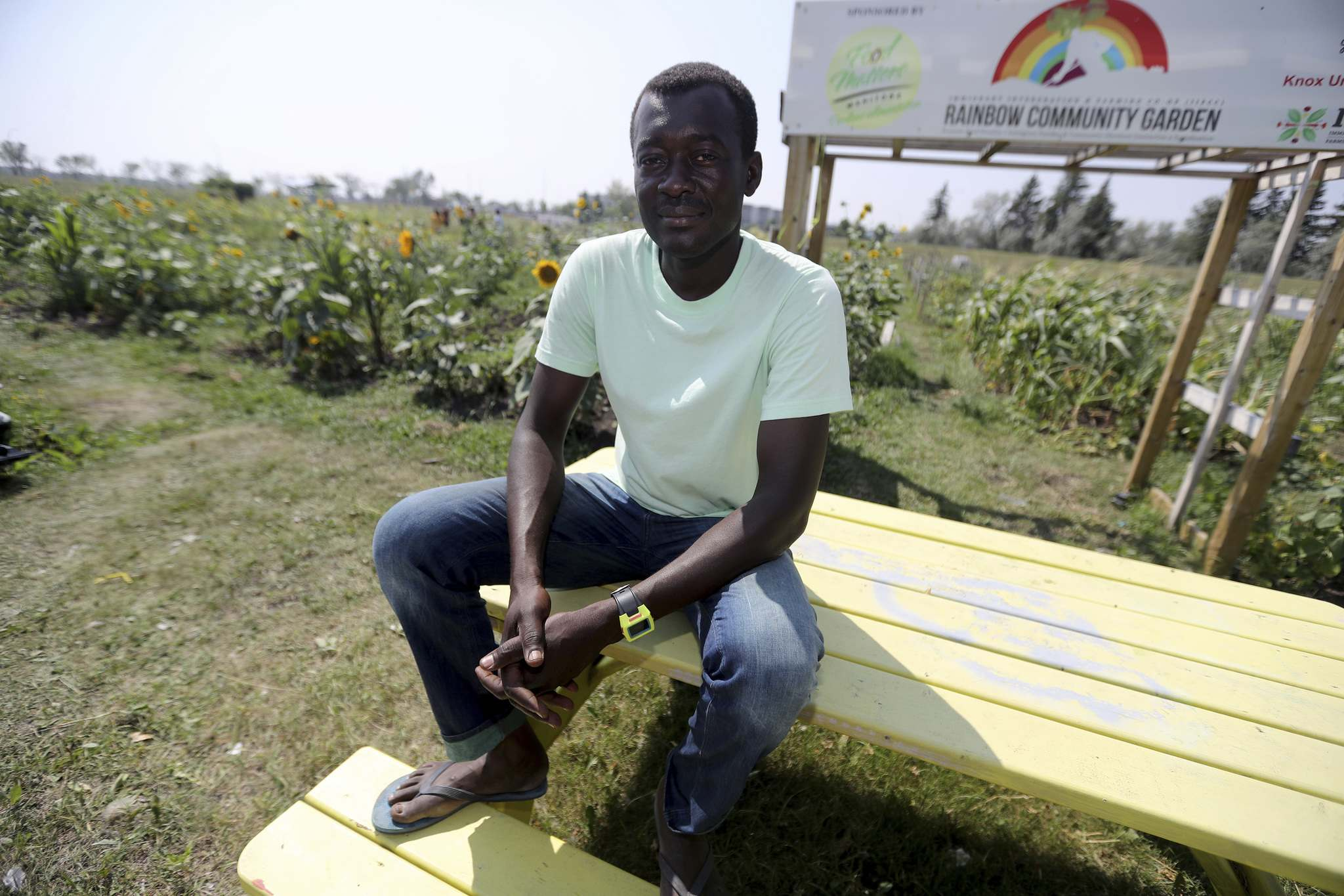 TREVOR HAGAN / WINNIPEG FREE PRESS</p><p>The idea behind the garden, says co-ordinator Raymond Ngarboui, was to 'grow local vegetables, but also vegetables from tropical areas.'</p>