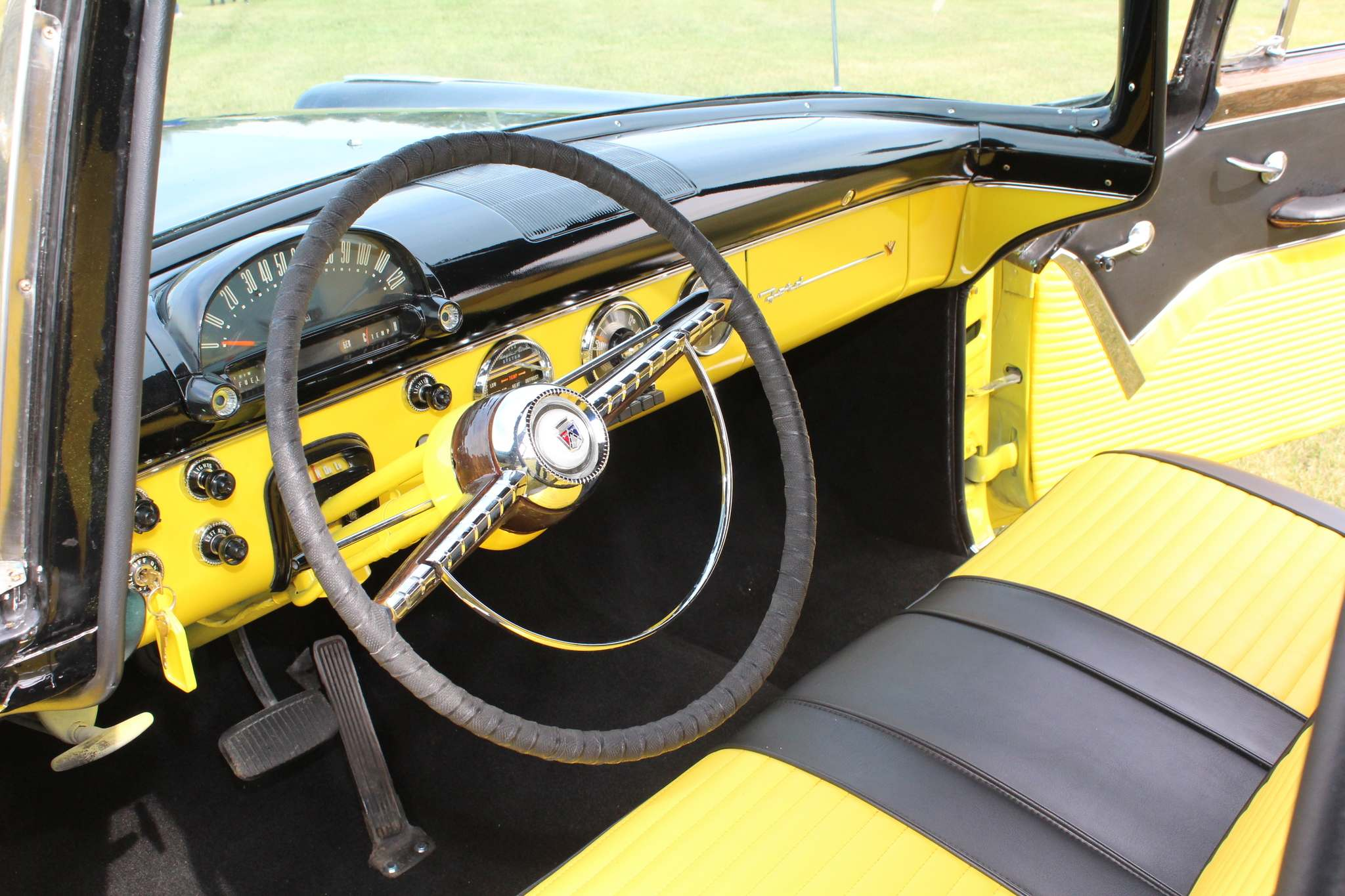 Automotive News Fabulous Fairlane Ready To Show And Go 1955 Ford F100 Painted Flat Black Larry Dargis Winnipeg Free Presscustom Rolled Pleated Yellow Vinyl Upholstery