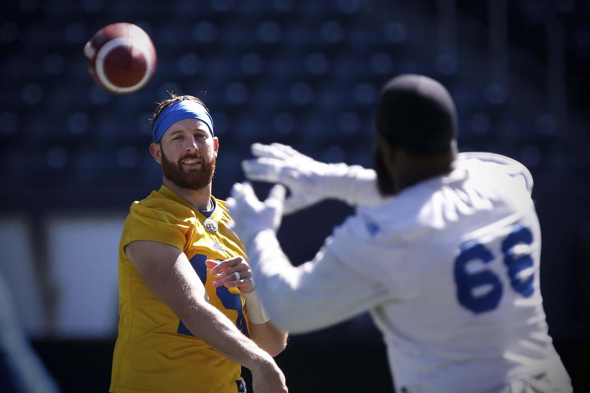 JOHN WOODS / WINNIPEG FREE PRESS</p><p>The Blue Bombers&rsquo; Corey Washington catches during practice at the University of Manitoba in Winnipeg on Wednesday. He stumbled on a key play in his recent CFL debut, but says the whole squad is hungry for a win.</p>