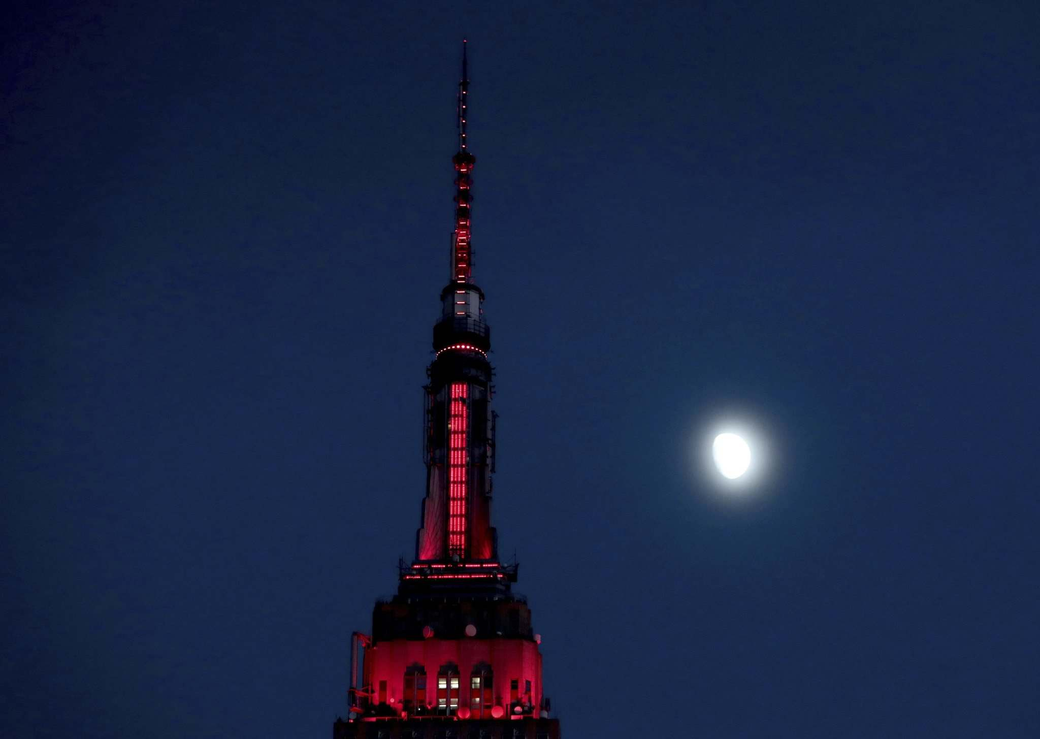 Julio Cortez, File / The Associated Press</p><p>FILE - In this Thursday, Nov. 10, 2016, file photo, the moon is seen in its waxing gibbous stage as it rises near the Empire State Building, in New York. On Wednesday, Feb. 15, 2017, the Federal Reserve Bank of New York issues its Empire State manufacturing index for February.</p>