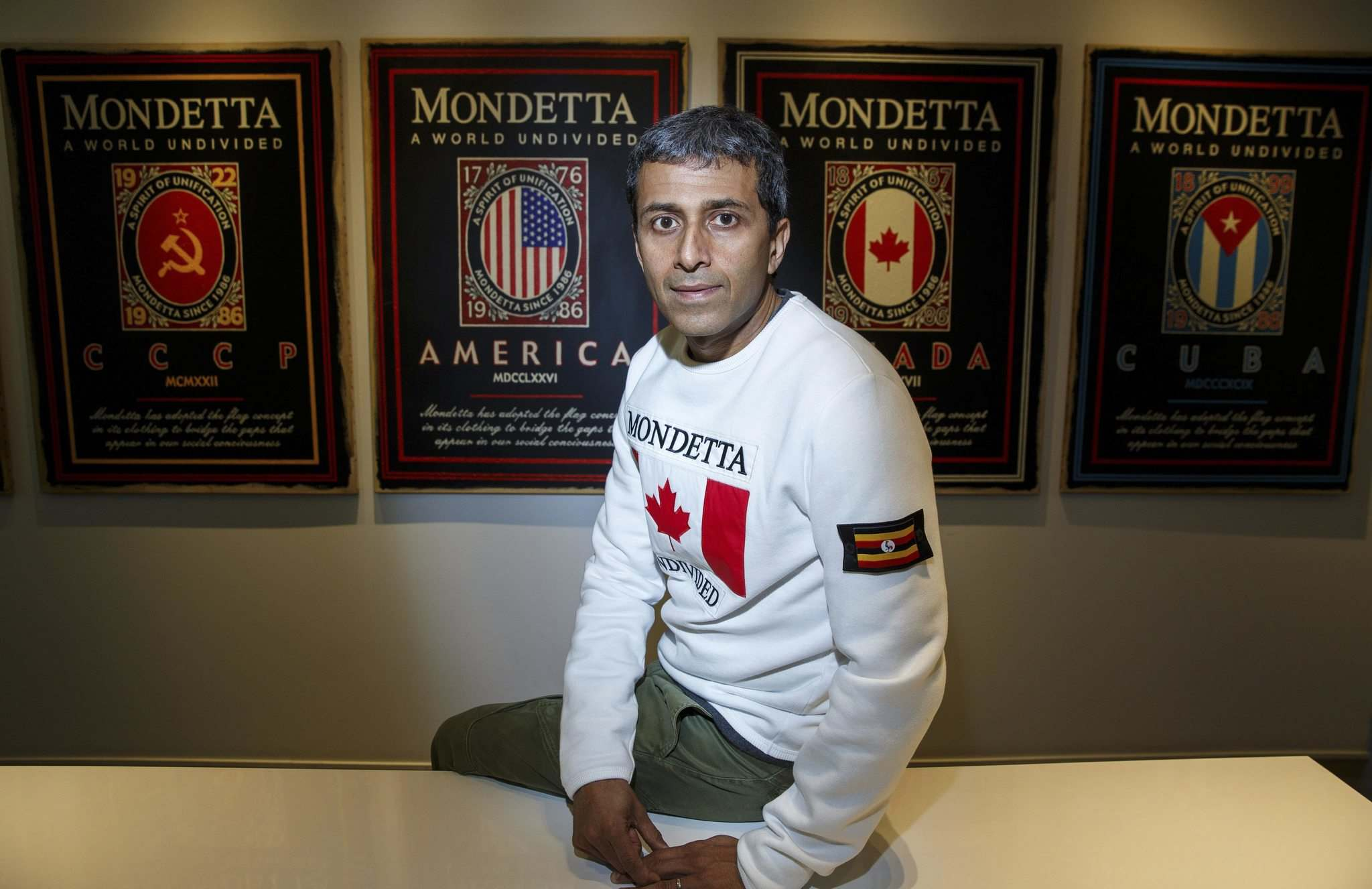 The new sweatshirts have your home flag on the front, as in Canada, while a patch of the flag of your ancestors goes on the arm.