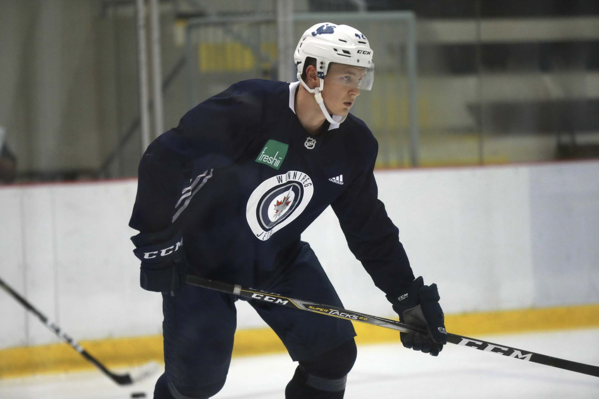 Kristian Vesalainen got in one more skate with fellow prospects Thursday before they headed to British Columbia, where they'll play a pair of games Friday night and Sunday afternoon against Vancouver Canucks prospects. (Ruth Bonneville / Winnipeg Free Press)</p>