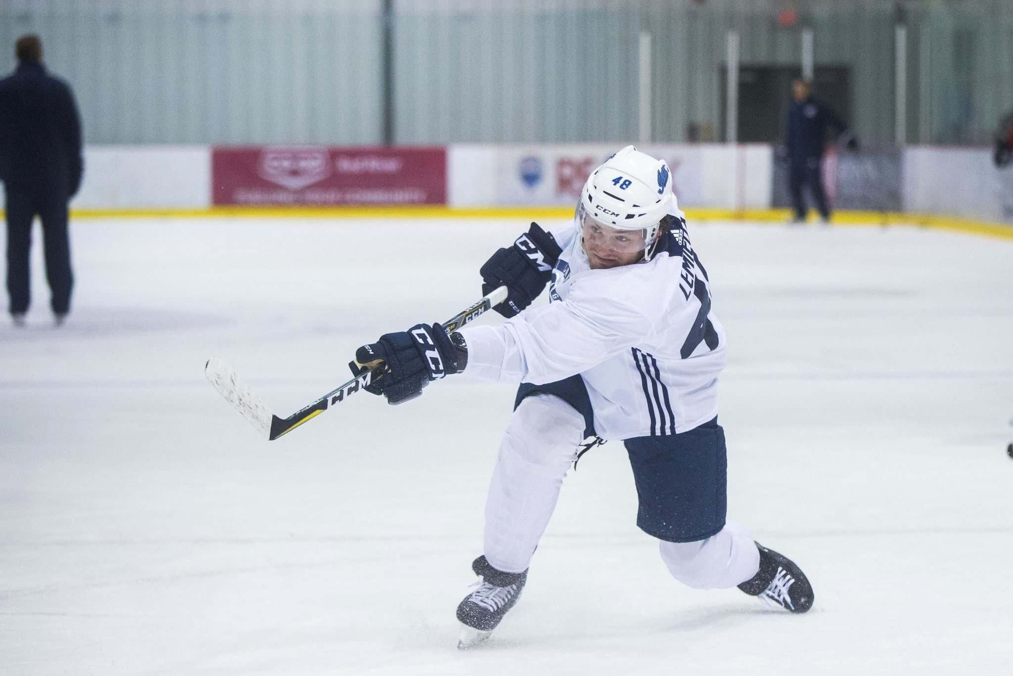 MIKAELA MACKENZIE / WINNIPEG FREE PRESS</p><p>Jets prospect forward Brendan Lemieux blasts a shot at practice Friday at the Bell MTS Iceplex. Lemieux, who played with the Manitoba Moose last season, aims to make the Jets this year.</p>