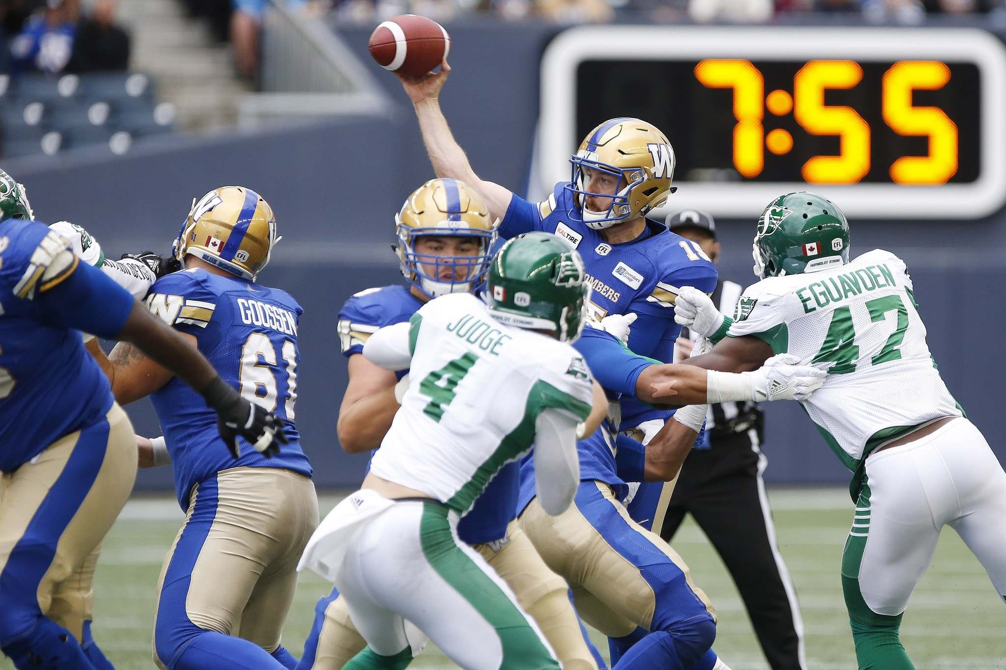 Matt Nichols went 10-for-20 for 165 yards, zero touchdowns and three interceptions against Saskatchewan Saturday. He also had two other interceptions wiped out by penalties. (John Woods / The Canadian Press)</p>