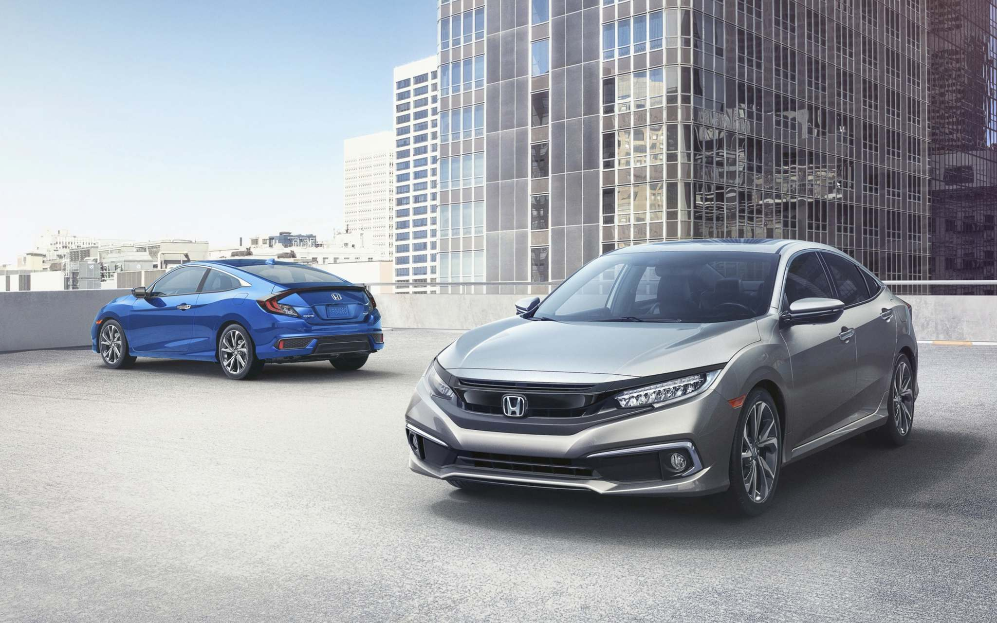 HondaFor 2019, all versions of Honda's Civic Sedan and Civic Coupe receive a restyled front fascia.