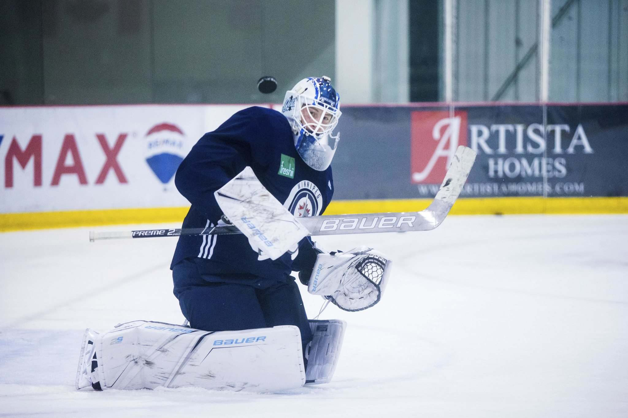 MIKAELA MACKENZIE / WINNIPEG FREE PRESS</p><p>Jets goalie Laurent Brossoit practices at Bell MTS Iceplex on Wednesday.</p>