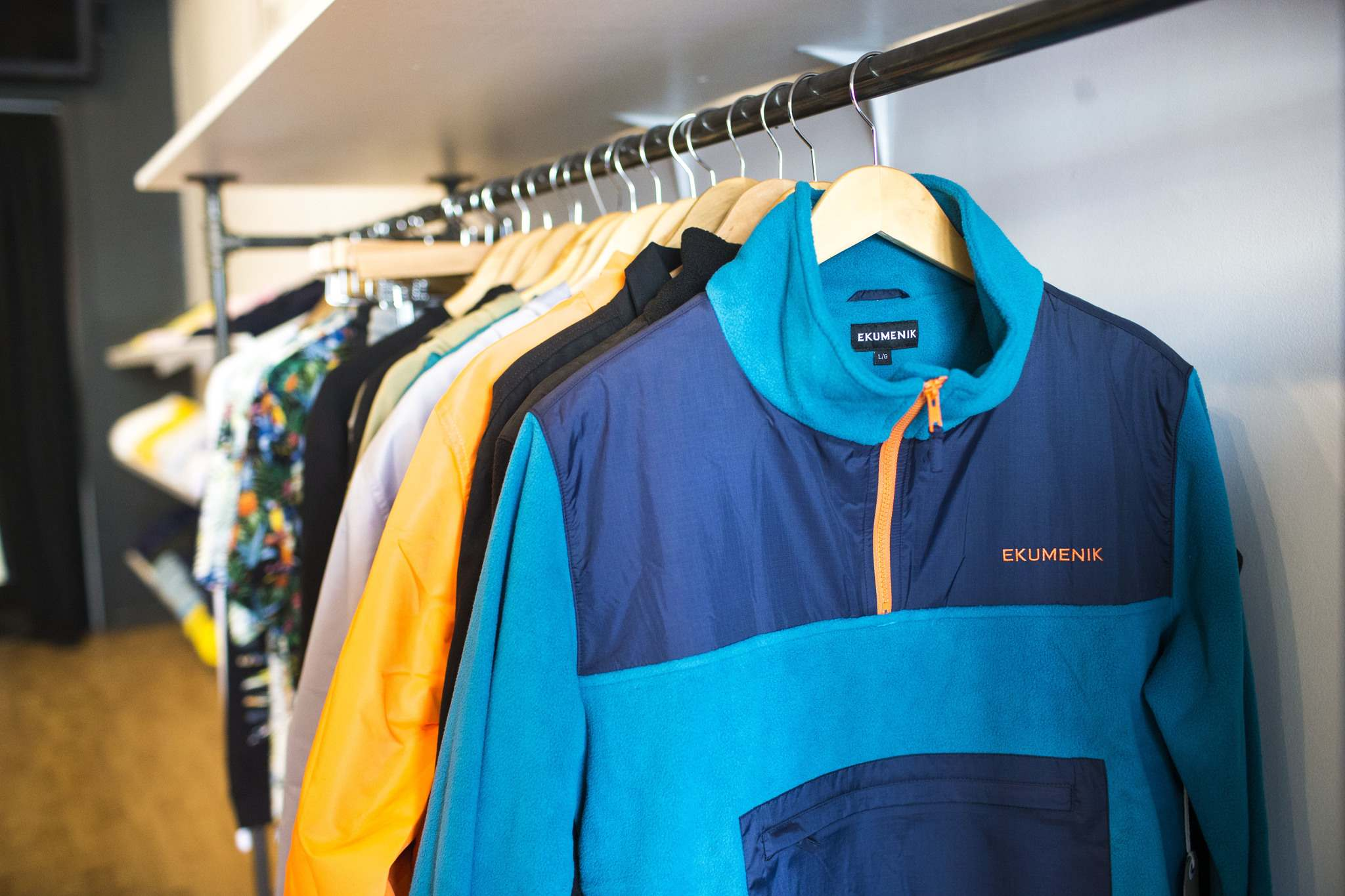 MIKAELA MACKENZIE / WINNIPEG FREE PRESS</p><p>Ekumenik clothing for skateboarders includes t-shirts, hoodies, jackets, raincoats, parkas, collared shirts, Hawaiian shirts, polar fleece, winter vests, pants, caps, shorts, bathing suits, and cardigan sweaters.</p>