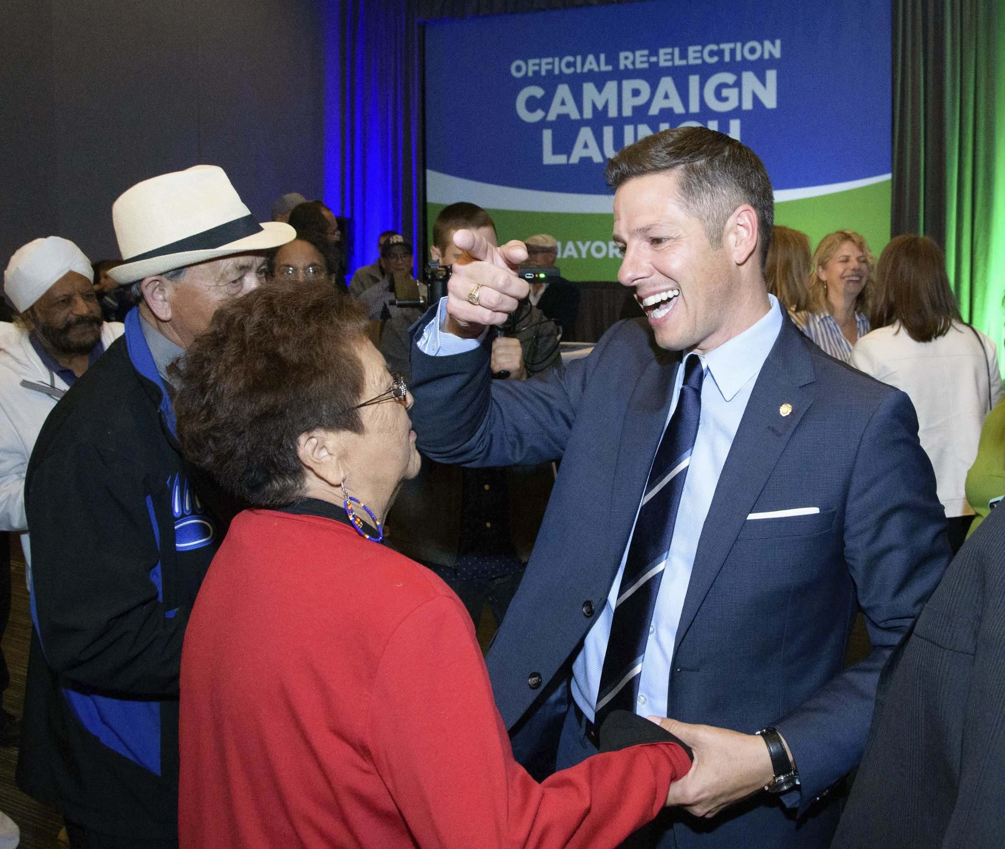 <p>Brian Bowman speaking with supporters after announcing his re-election campaign at the RBC Convention Centre Thursday evening.</p>