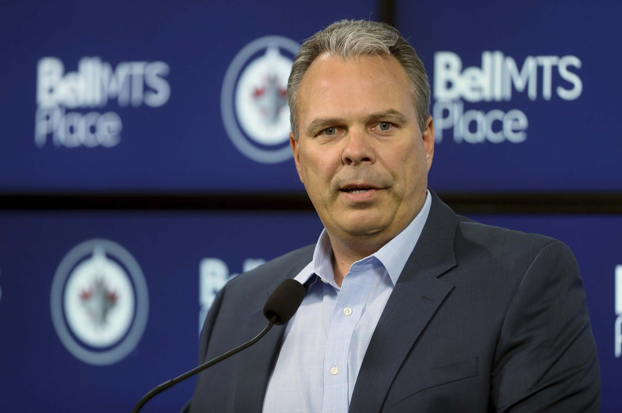 THE CANADIAN PRESS/Trevor Hagan</p><p>Winnipeg Jets' general manager Kevin Cheveldayoff addresses media prior to the team's first preseason game against the Minnesota Wild in Winnipeg, Monday.</p>