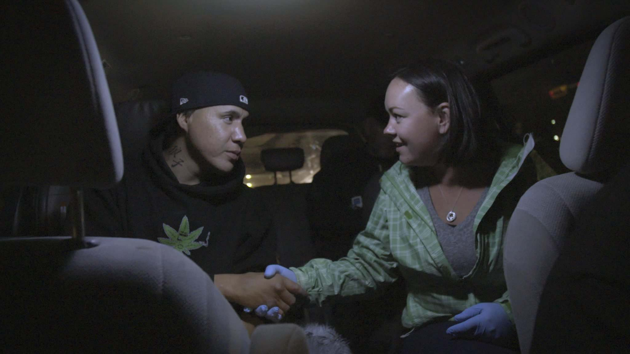 APTN</p><p>In episode 103, Trent (left) met First Contact participant Avonlea in the Downtown Outreach Addictions Partnership van in Calgary.</p>