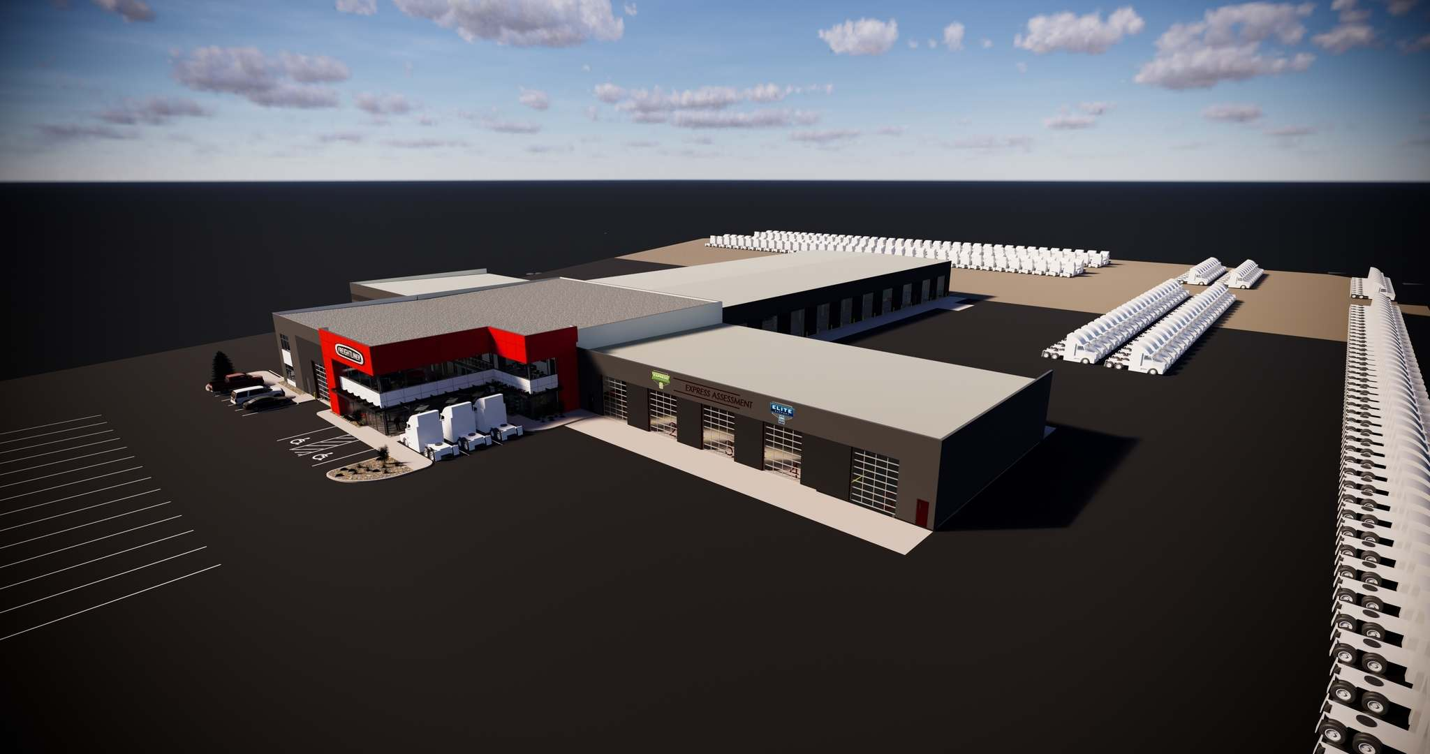 SUPPLIED</p><p>A rendering of the announced Freightliner dealership at Centreport.</p>
