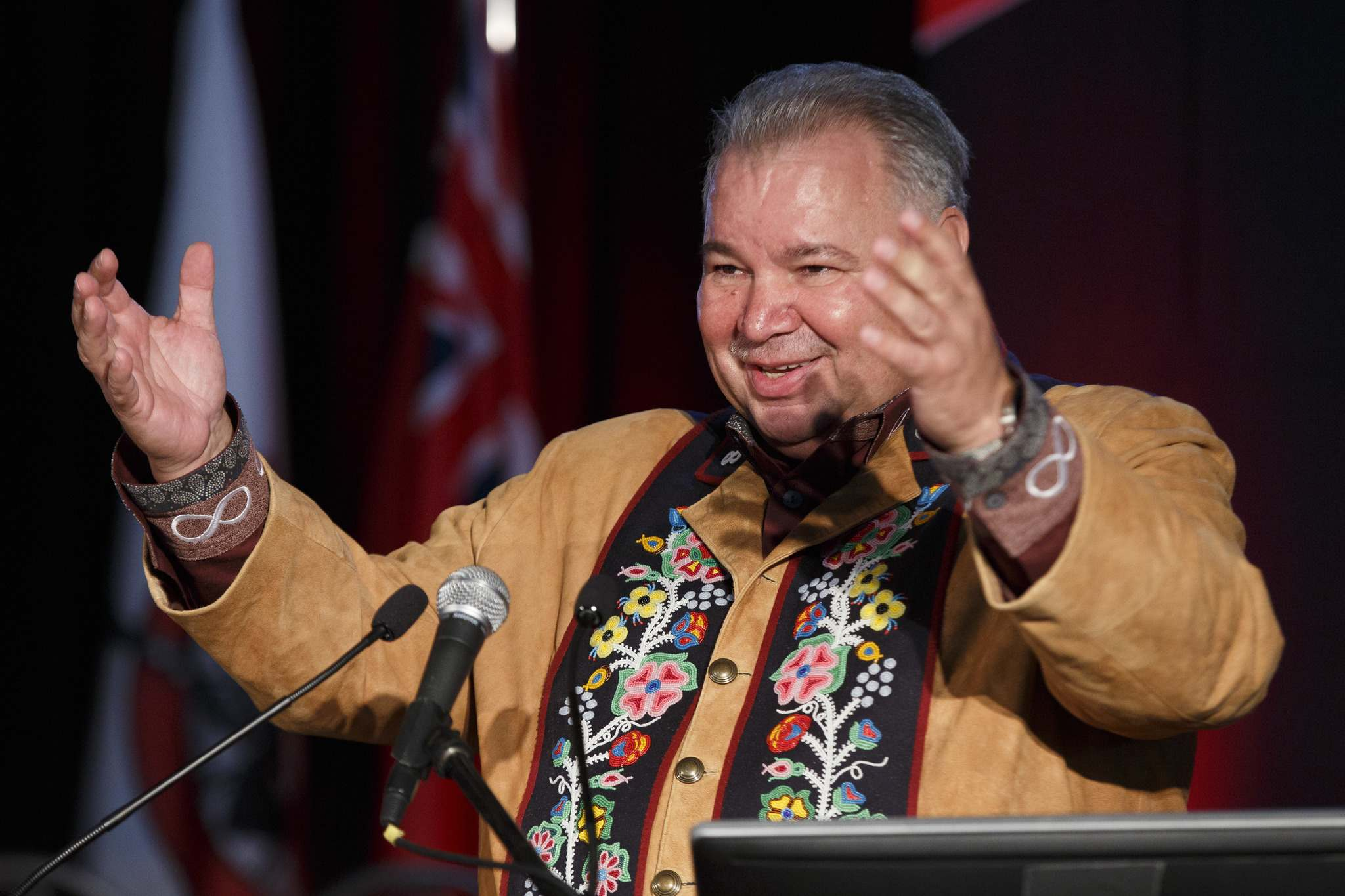 Manitoba Metis Federal President David Chartrand: 'We're back into Confederation.' (Mike Deal / Winnipeg Free Press)</p>