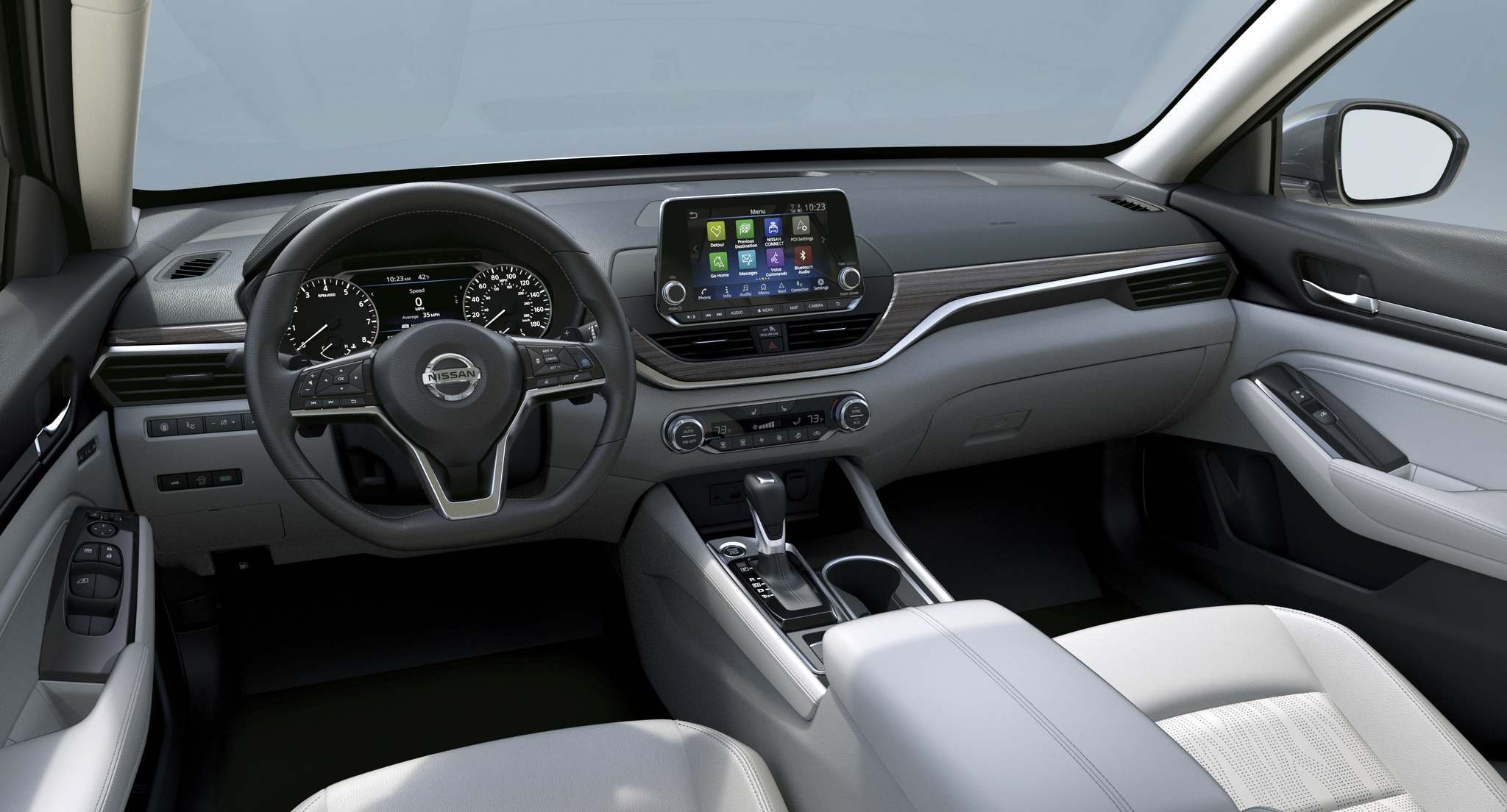 Nissan A large touchscreen display above the centre console controls audio and connectivity.