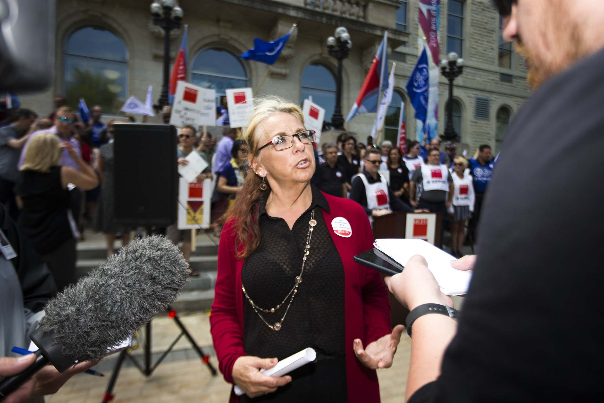 <p>Michelle Gawronsky, MGEU president shared the union's legal position that HSC guards aren't designated as peace officers and don't have the power to arrest or to use force.</p>