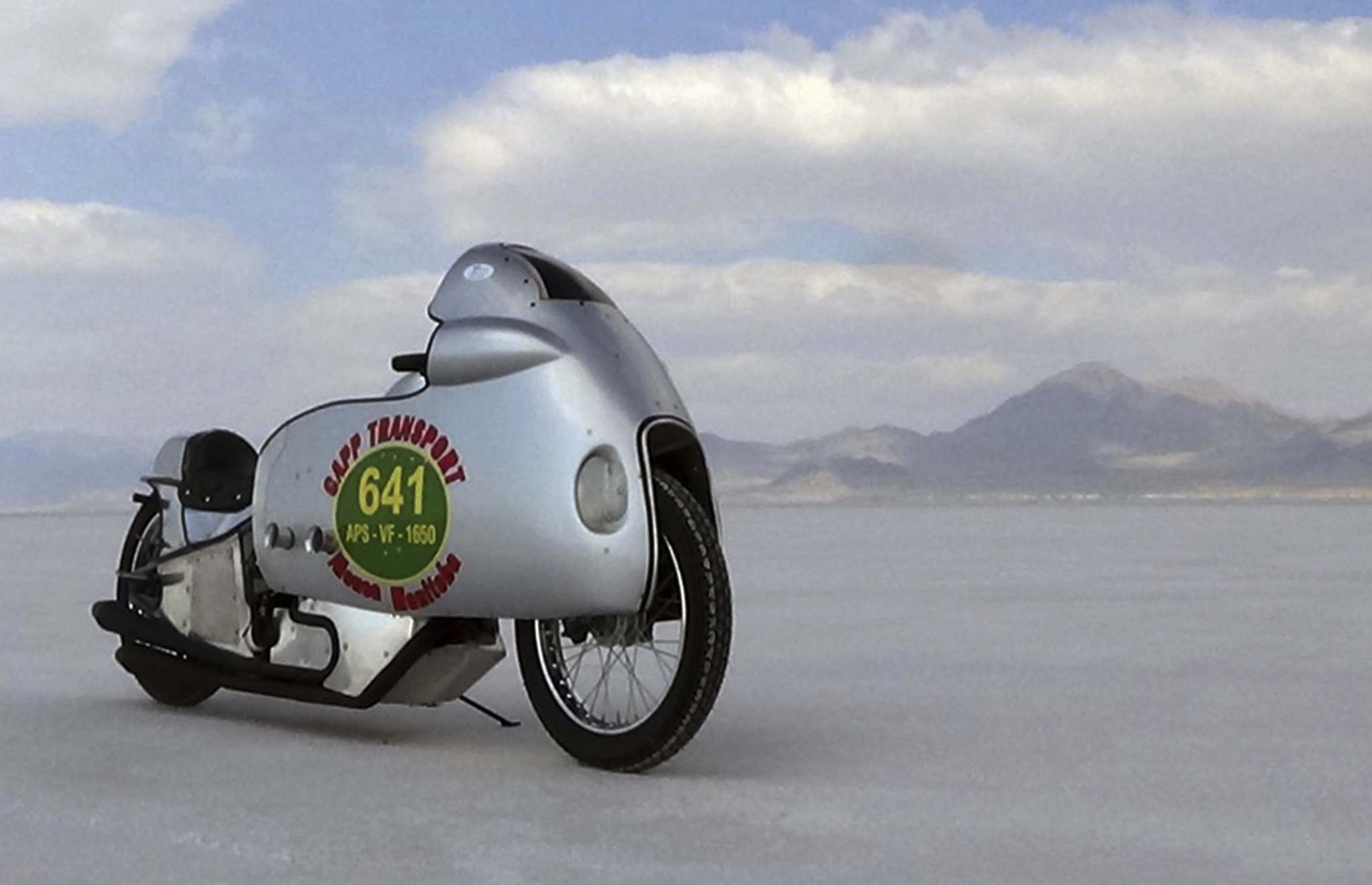 SuppliedTed Hector set a new land-speed record in August aboard this 1942 Harley Davidson UL on the Salt Flats at Bonneville Speedway in Utah.