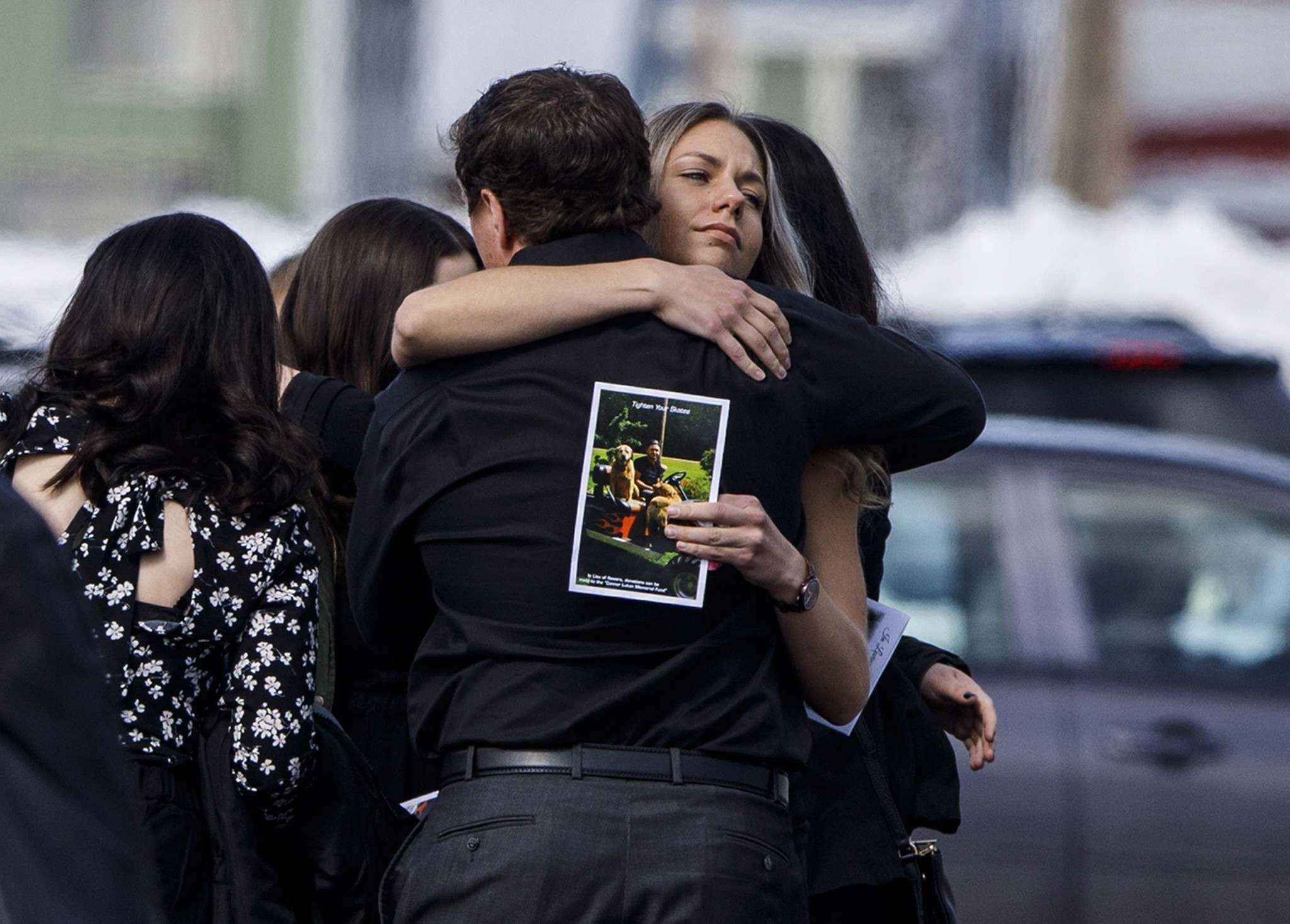 Jason Franson / THE CANADIAN PRESS FILES</p><p>Mourners hug after the funeral for Humboldt Broncos player Conner Lukan in April. The city of Humboldt, Sask. became the emotional epicentre for enormous tragedy in April, when 16 players, staff and media linked to the Humboldt Broncos junior hockey team died in a highway collision en route to a game in Nipawin.</p>