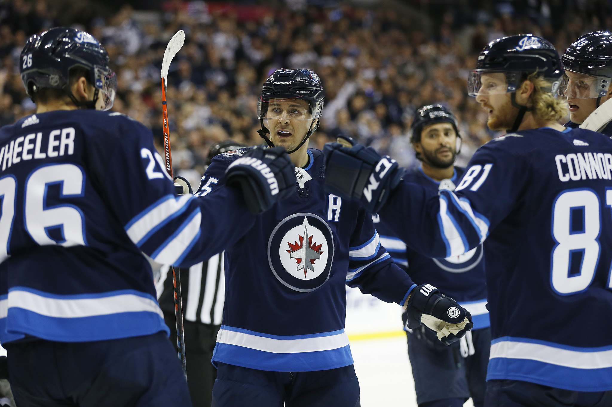 JOHN WOODS / WINNIPEG FREE PRESS</p><p>Winnipeg Jets&#39; Blake Wheeler, Mark Scheifele and Kyle Connor celebrate Connor&#39;s goal against the Los Angeles Kings during the second period Tuesday.</p>
