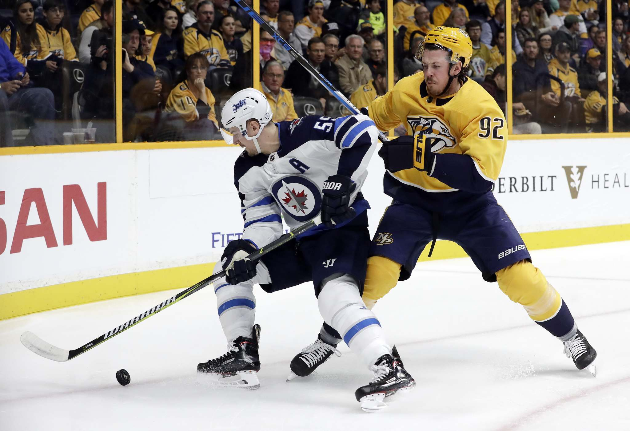 AP Photo/Mark Humphrey</p><p>Winnipeg Jets center Mark Scheifele and Nashville Predators center Ryan Johansen battle for the puck. The two have voiced a mutual respect for each other as players.</p>