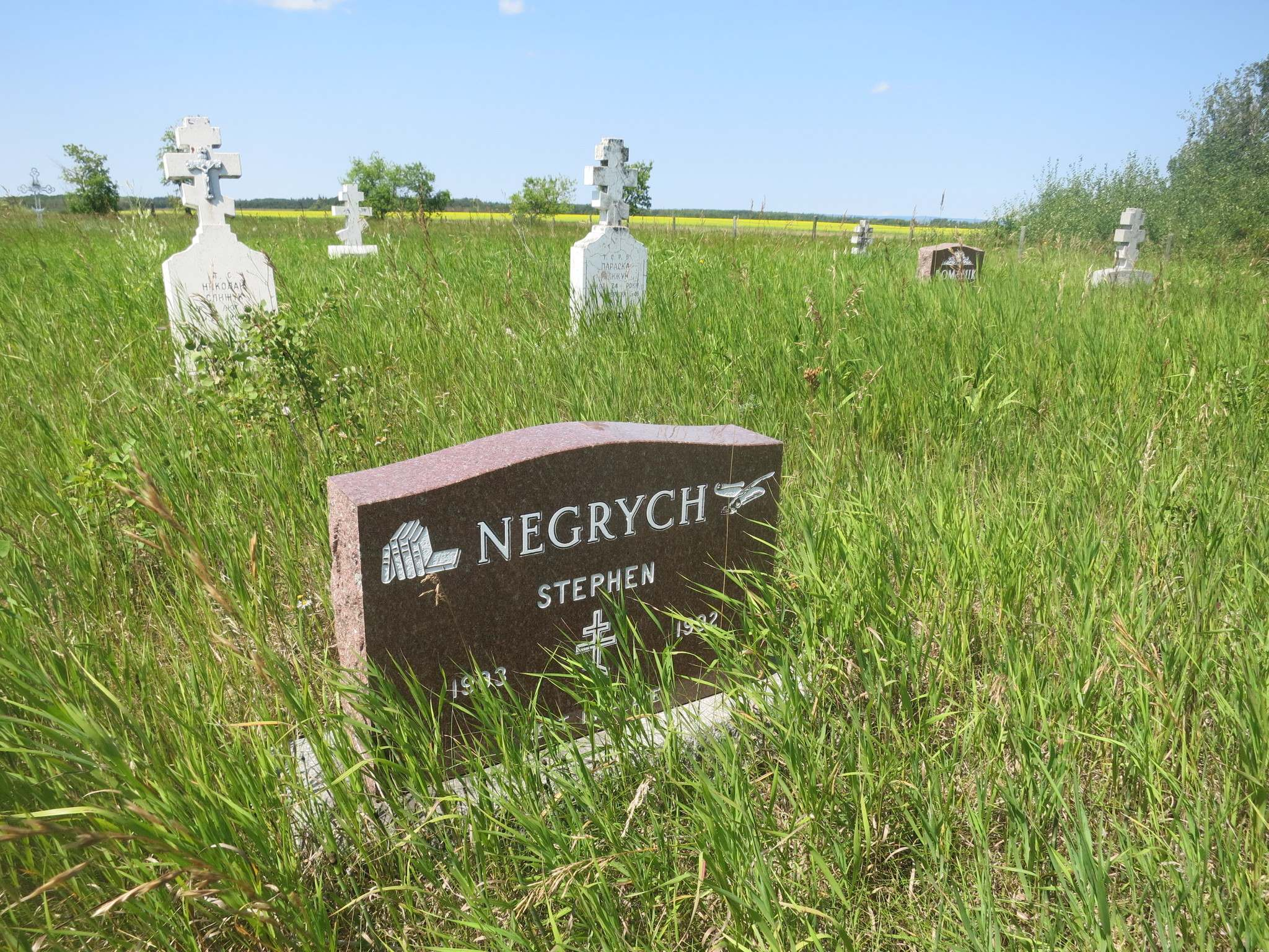 Stephen and other Negrych family members are buried in a cemetery two kilometres from the farm site.</p></p>