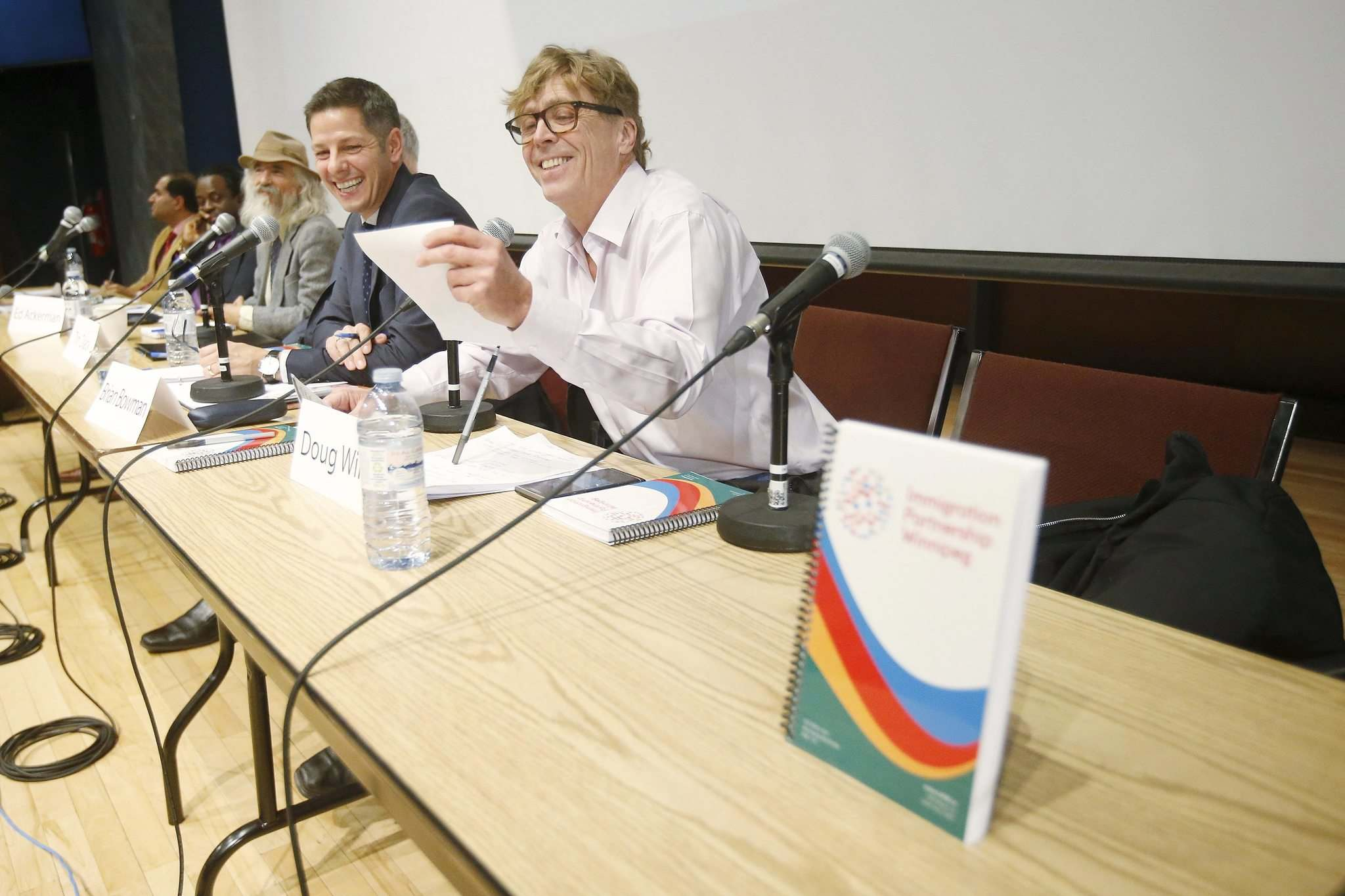 JOHN WOODS / WINNIPEG FREE PRESS</p><p>Mayoral candidate Doug Wilson (right) speaks at an election forum, focusing on poverty in the city, at the University of Winnipeg Wednesday.</p>